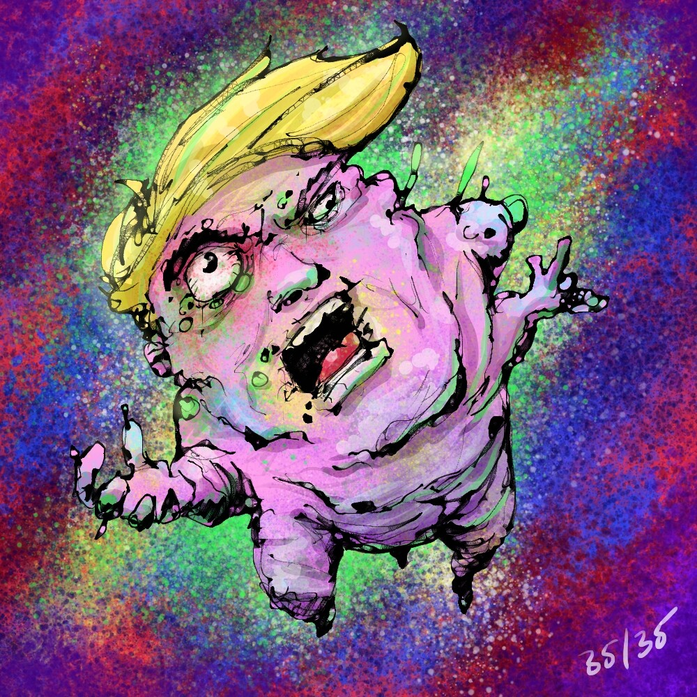 Day 35, was pretty tired at this point, as struggling to come up with a beasty. I was laughing hard at this meme of Trump going around so it made sense to make him into a monster mutant. Was pretty easy,