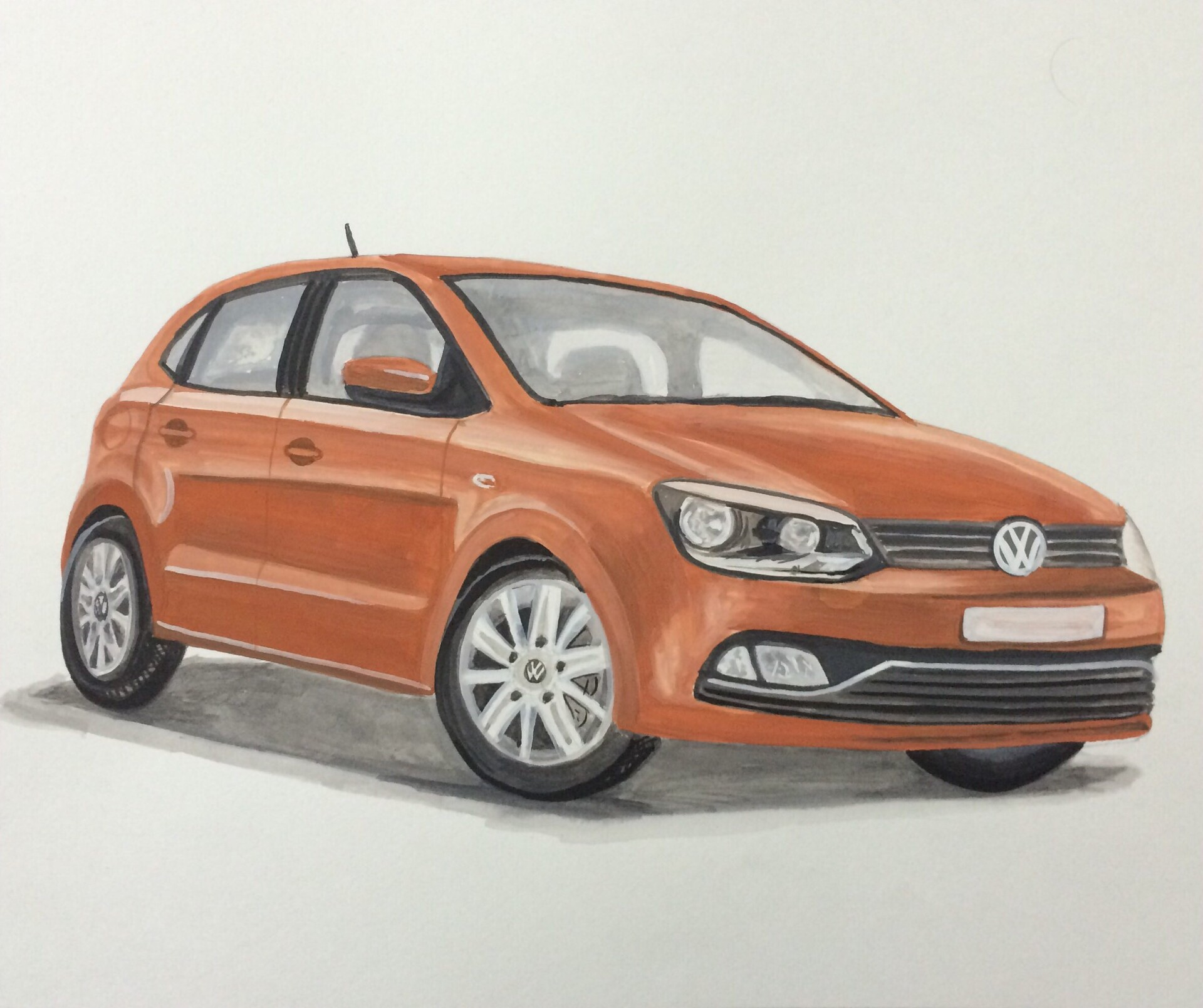 VW Polo - Poster colors on paper
