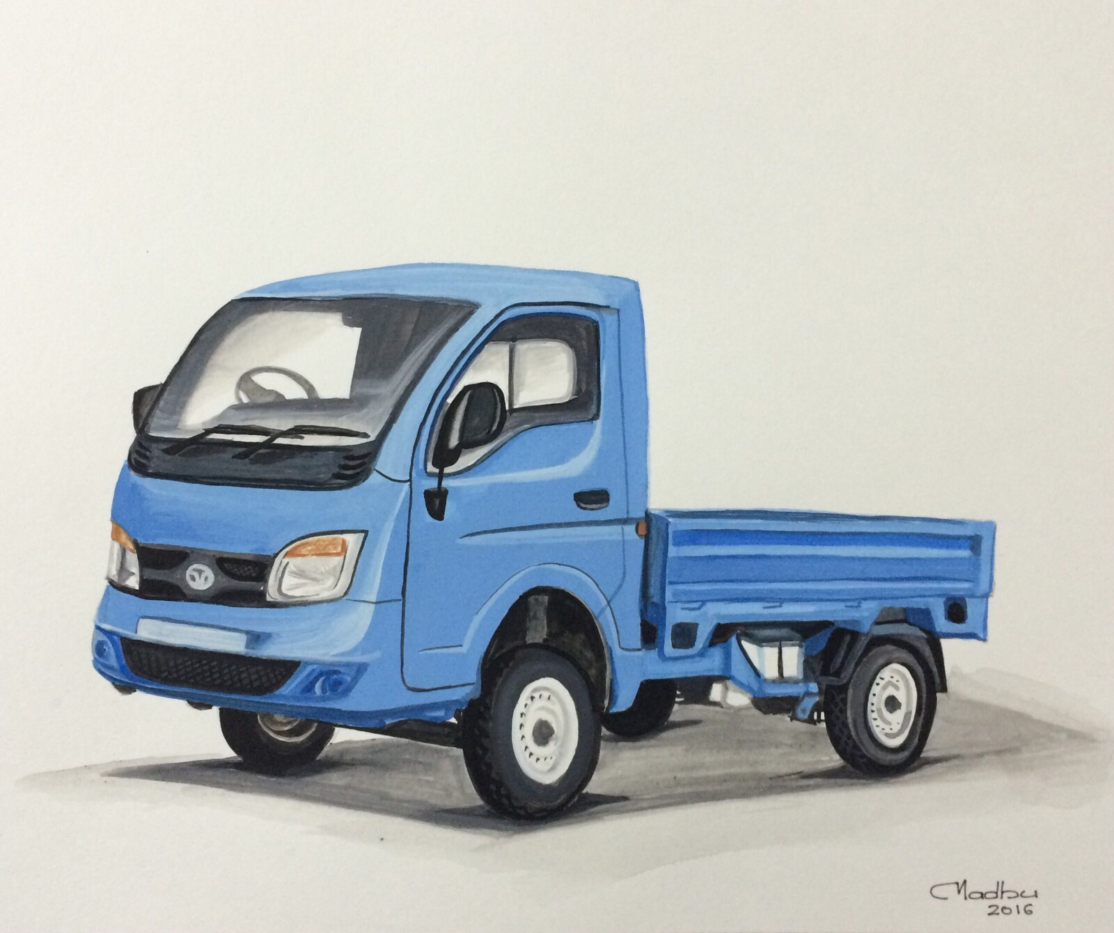 Mini truck - Poster colors on paper
