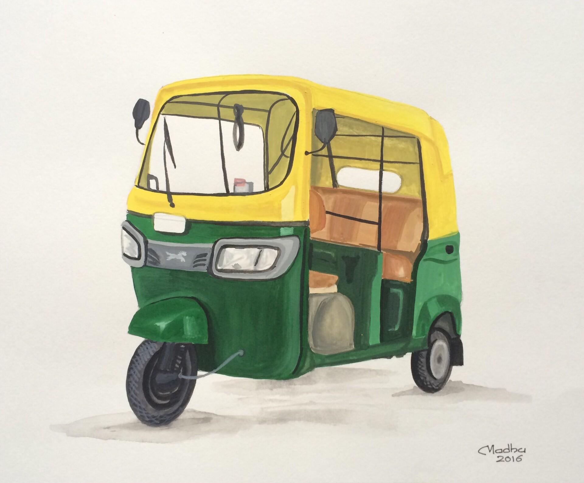 Auto Rickshaw - Poster colors on paper