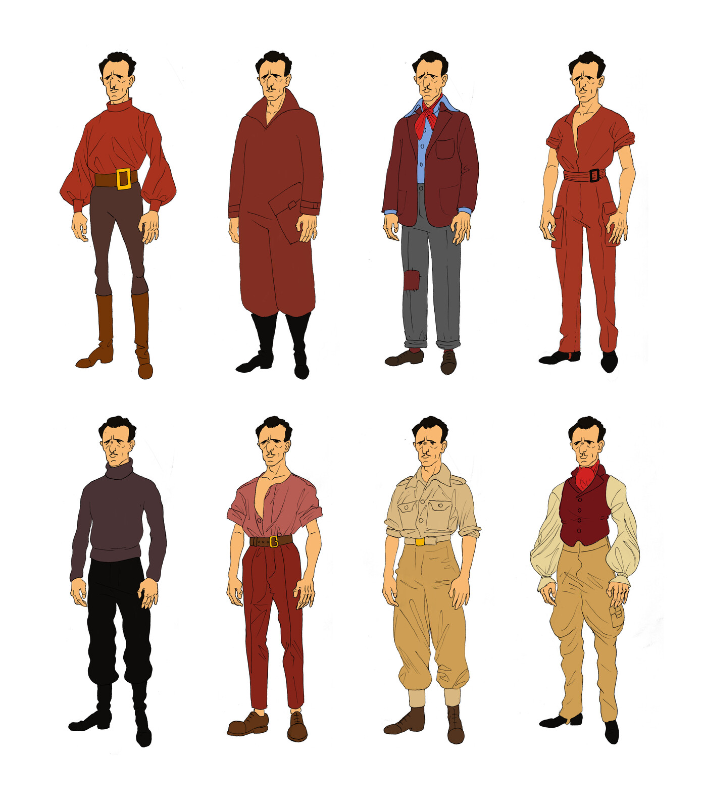 Early character designs for the hero of the story.