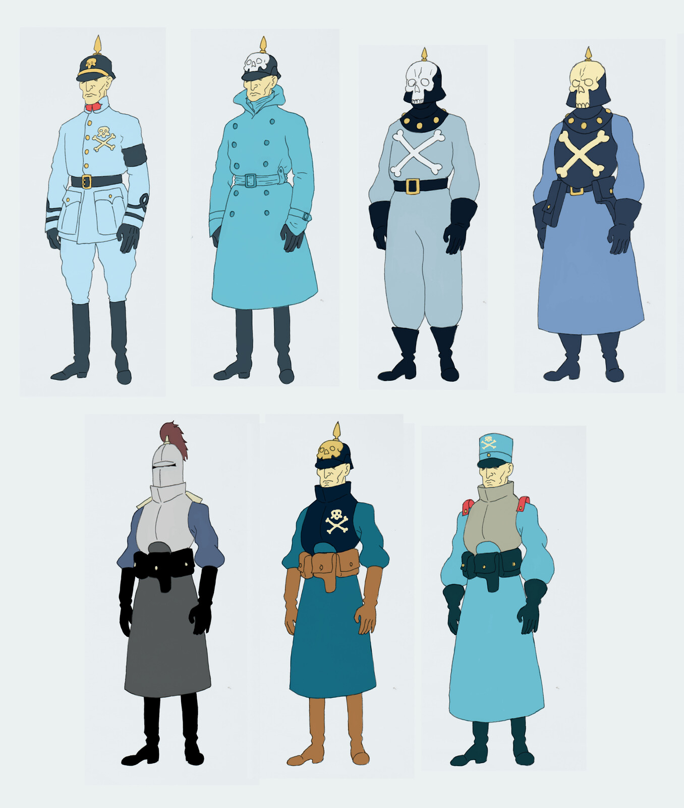 Early uniform designs for the army.