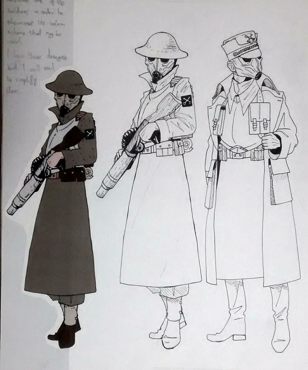 Concepts for the soldier's uniforms.
