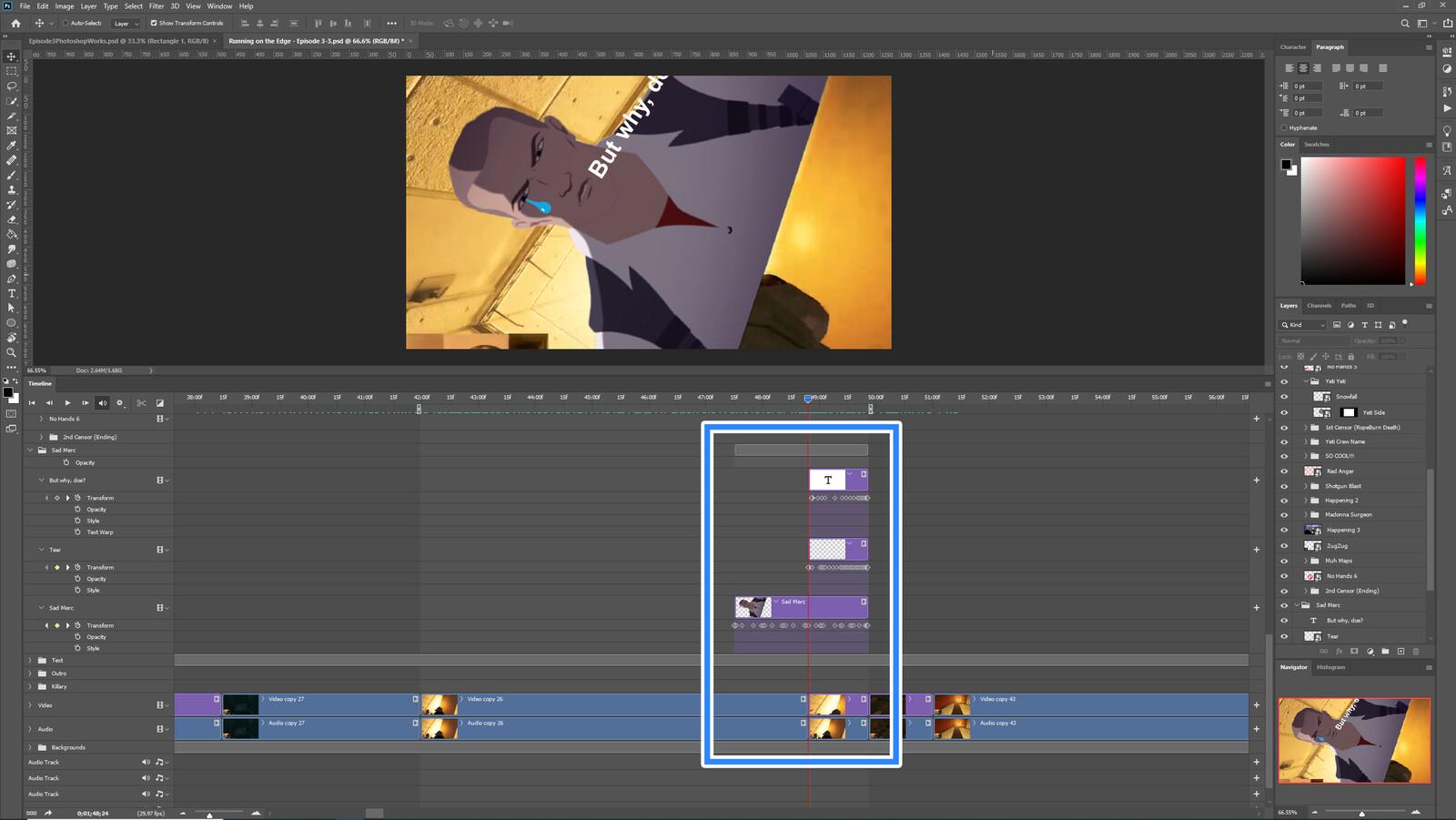 "The ""Sad Merc"" visual effect within Photoshop video editor"