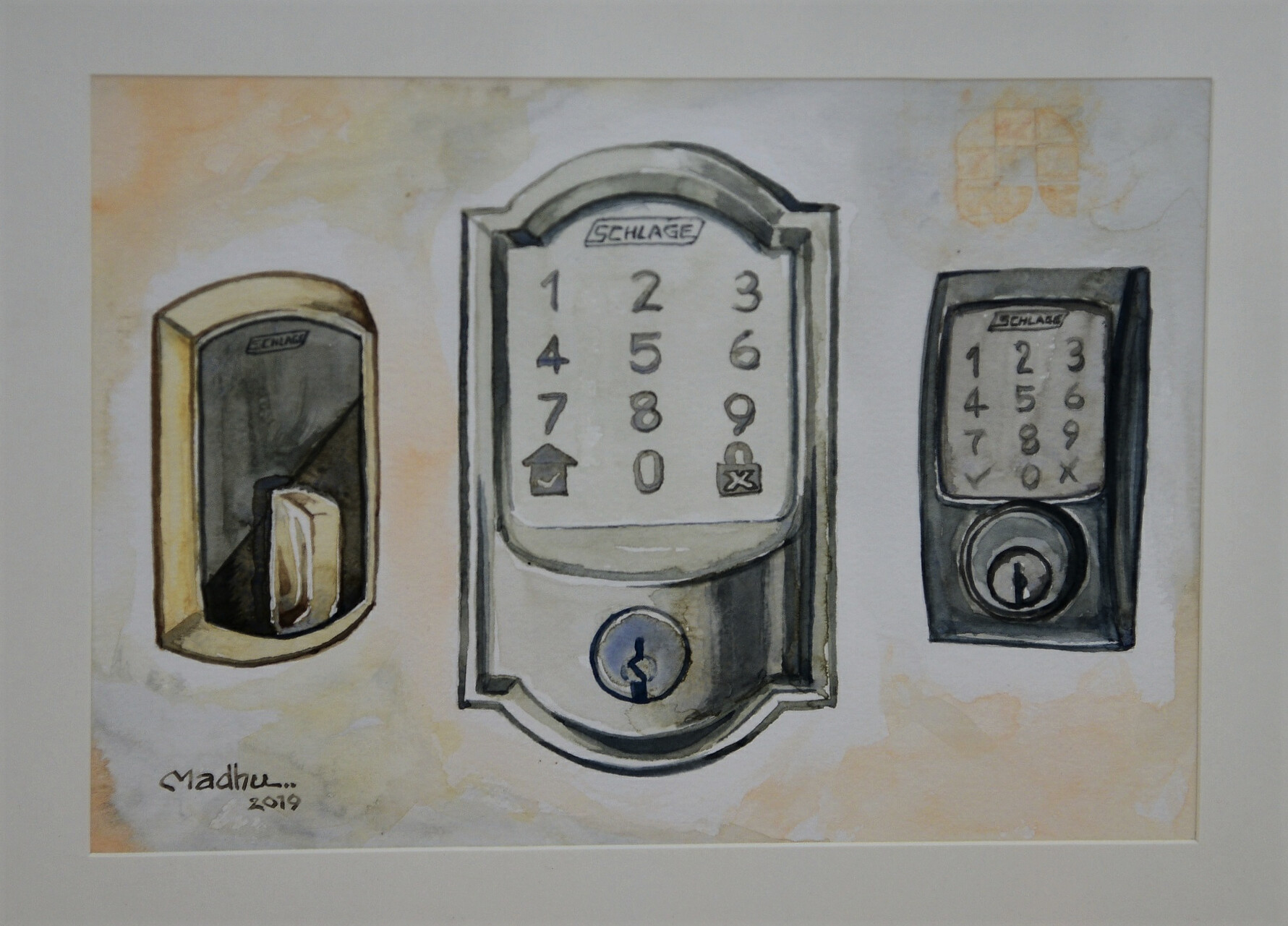 Allegion's eLocks - Water colors on Canson paper