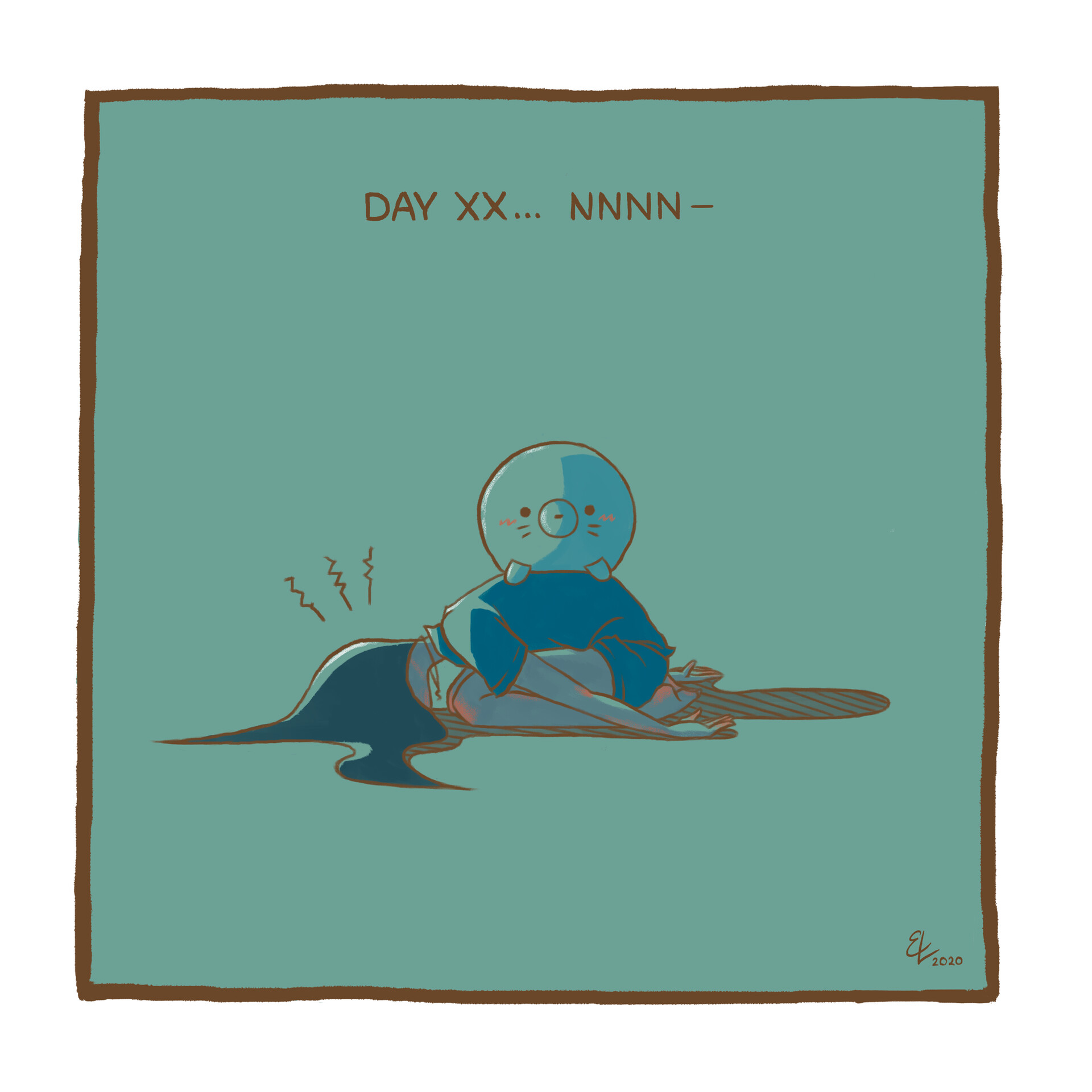 07. Efficiently stretching and falling into frustrated despair with the sealion plush my mom gave me...