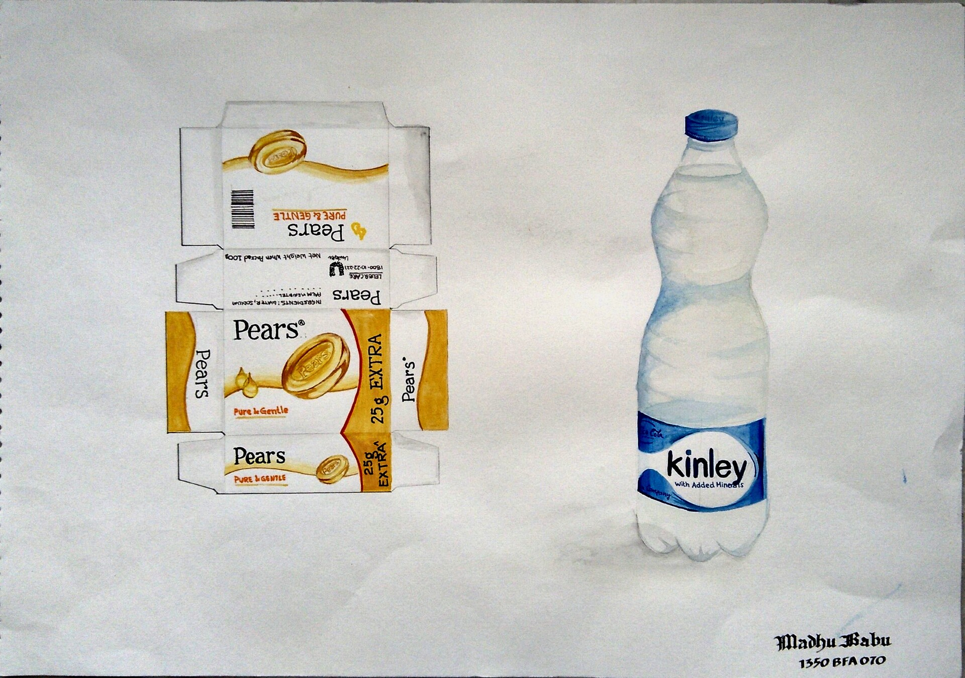 Soap Packaging and Water Bottle - Poster Colors on paper