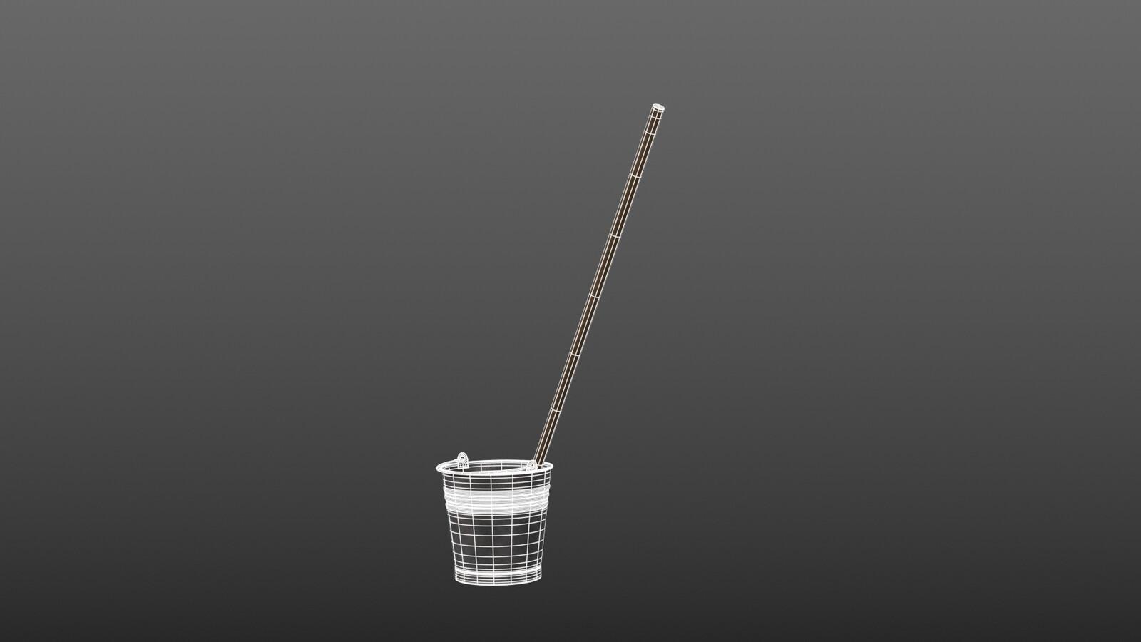 Mop in bucket - wireframe