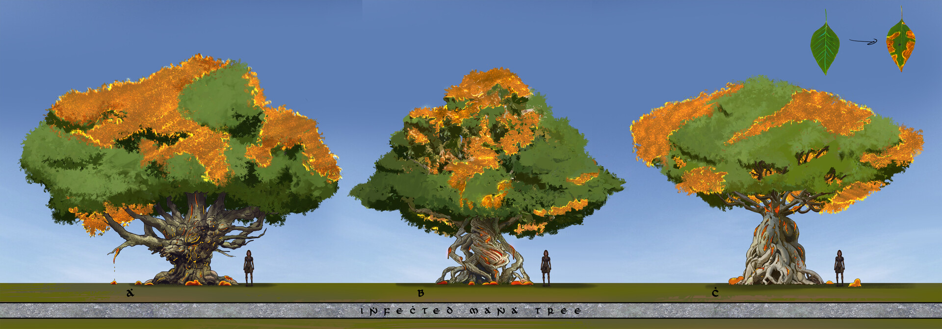 Variations on the hero tree for the level, the tree is the central energy source for the mana forest.