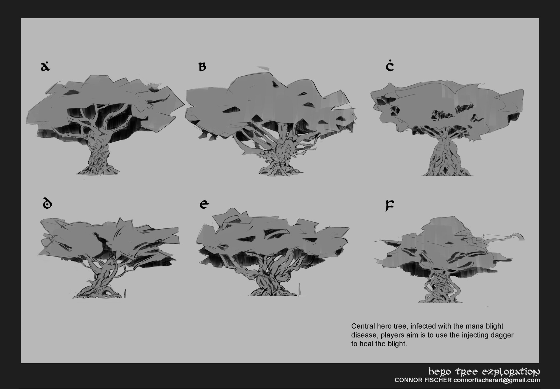 Sketches to figure out the direction and feel for the tree, I ended up liking B C and F.