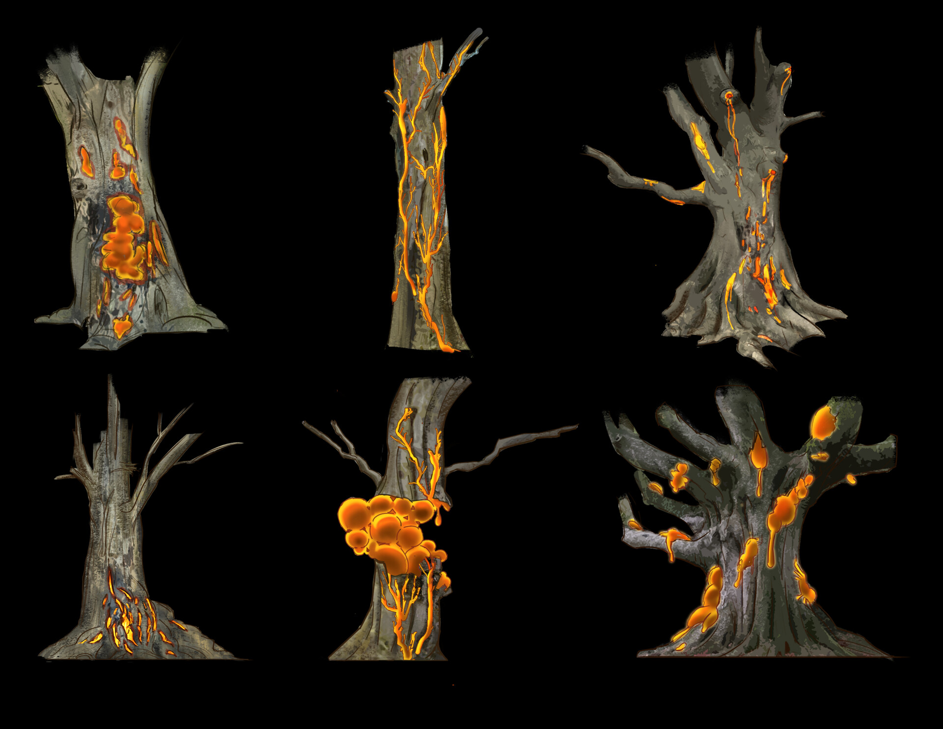 Early ideas of what a rendered version of the blight would look like, variations on how the mana blight disease could effect the tree.