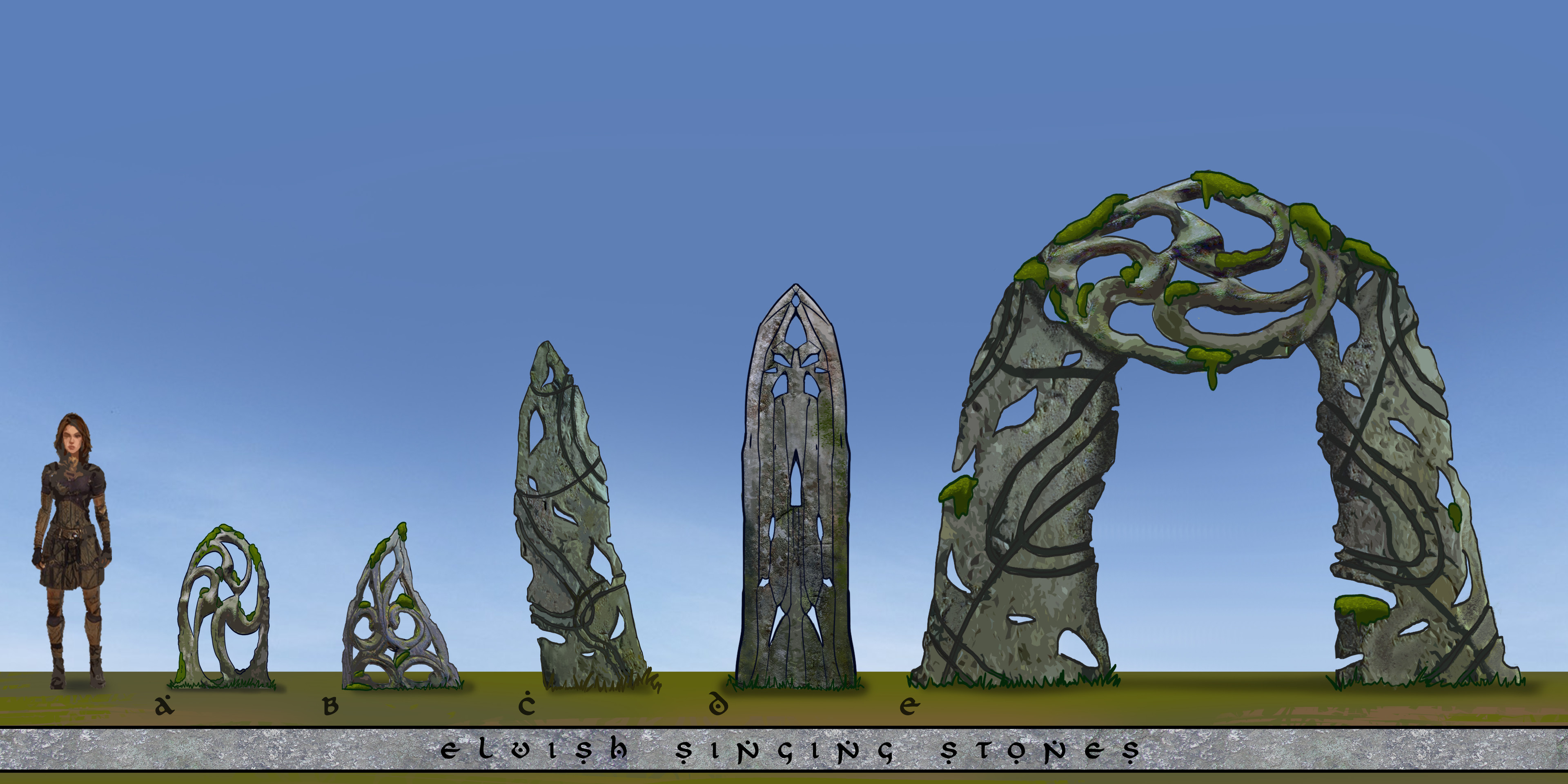 Renders of selected ideas to showcase the scale and materials of the stones.