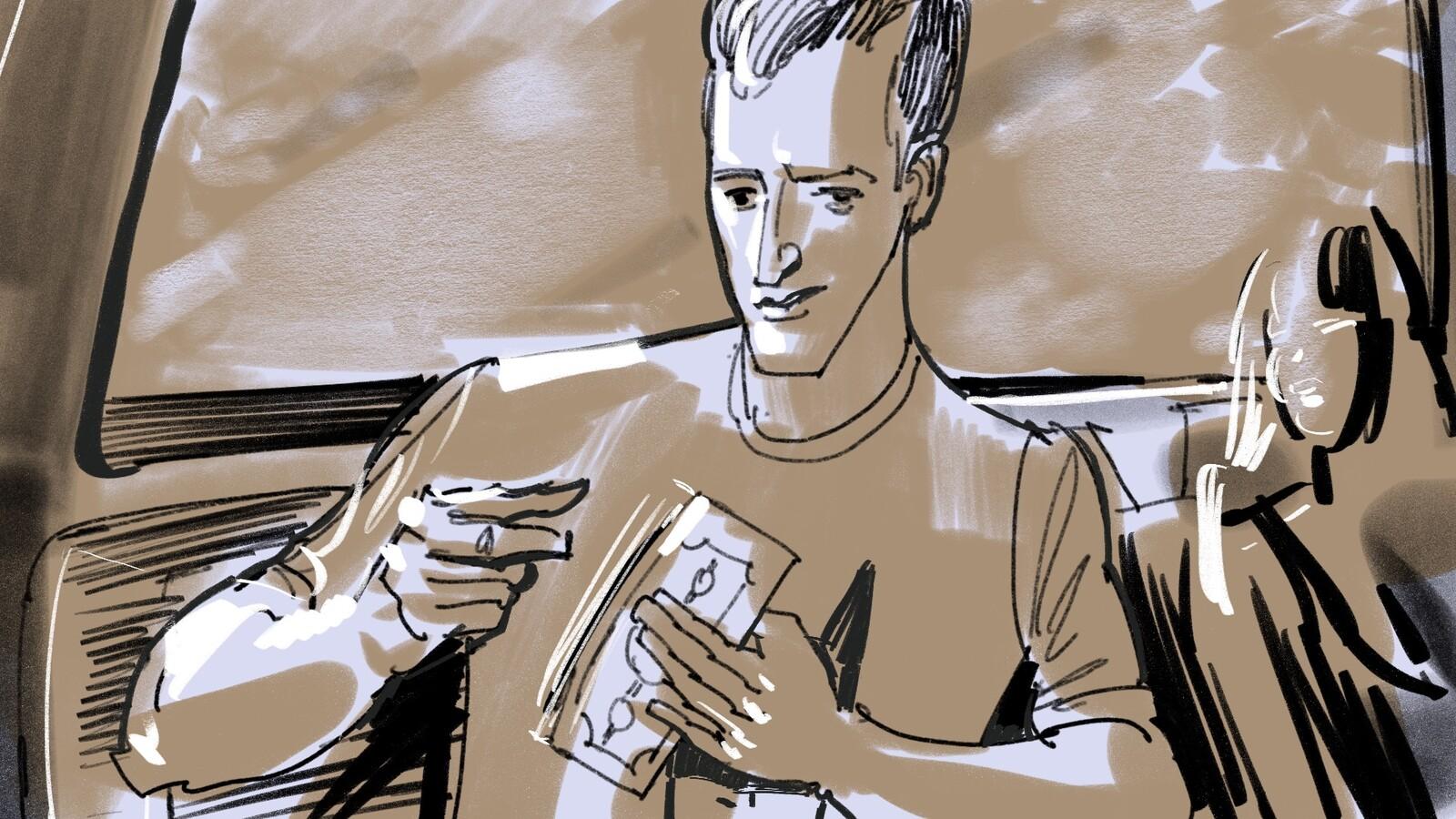 FRAME #28-MS-Med-Floating: Nick pulls out a wad of cash.