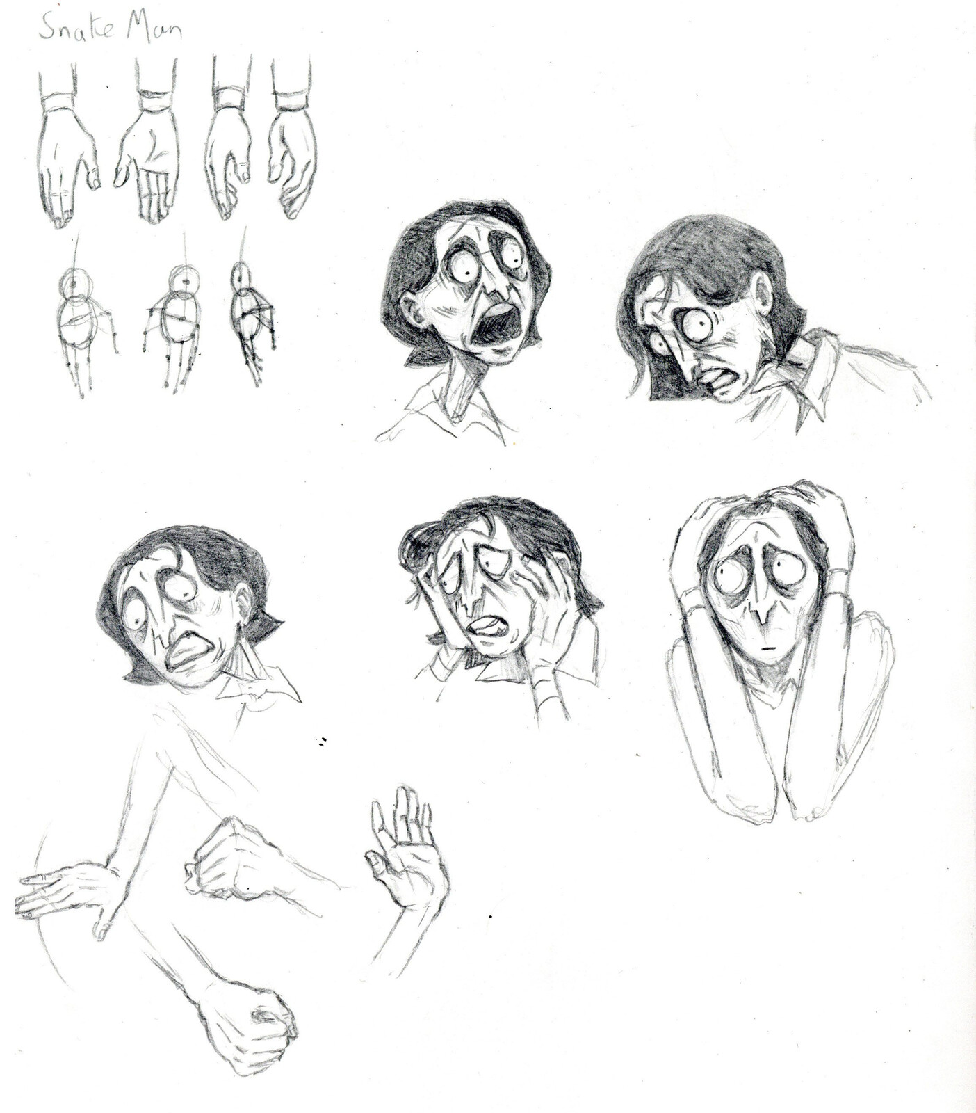 'Snake man' hands and expressions.