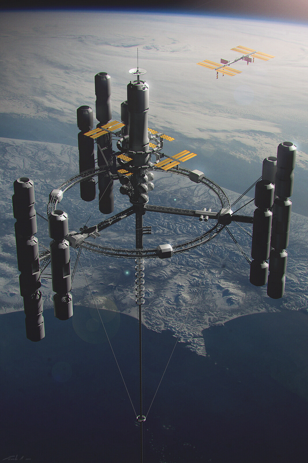 Originally the space elevator was to have a complex station at the top that would also serve as a counterweight.