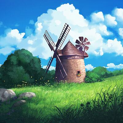 Madeleine bellwoar ghibli style windmill 3 s