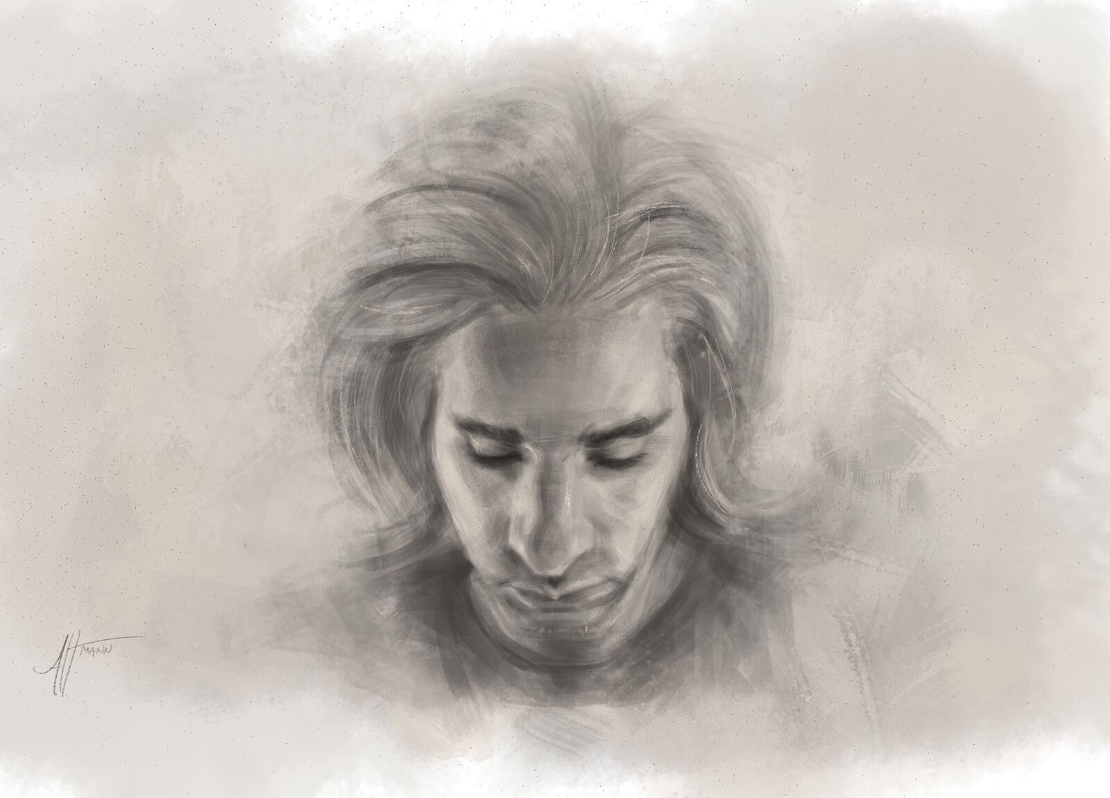 digital charcoal, self Portrait- process video