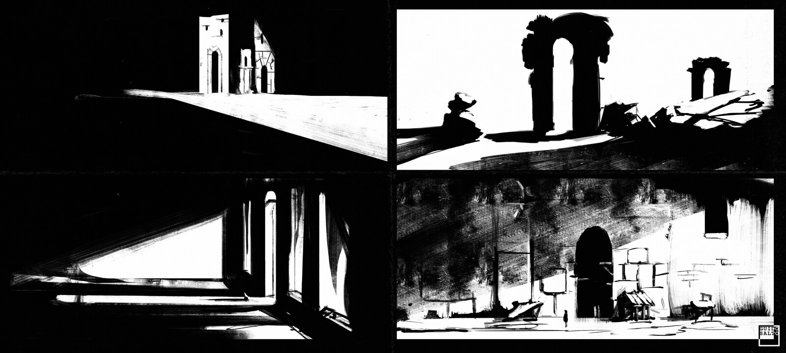 Black and White Environment Sketch Timelapse
