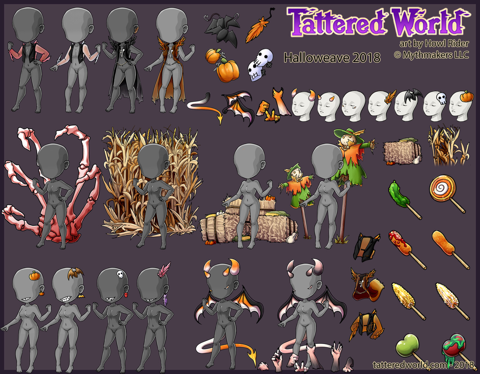 Halloween themed apparel items.