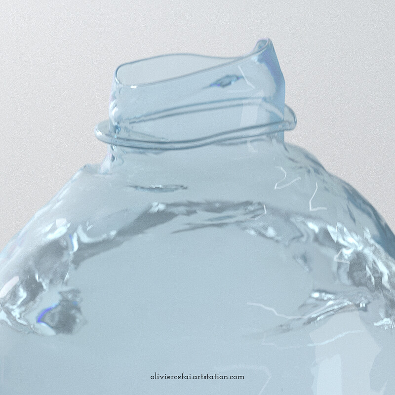 Crushing a plastic bottle