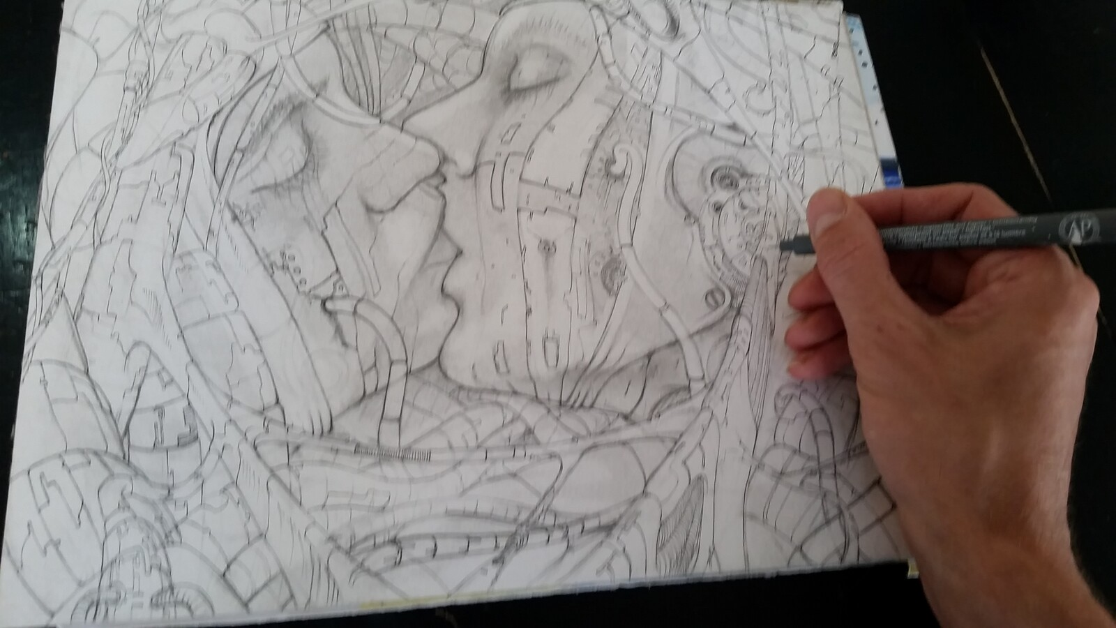 Work in progress: First ink layer, defining the outlines.