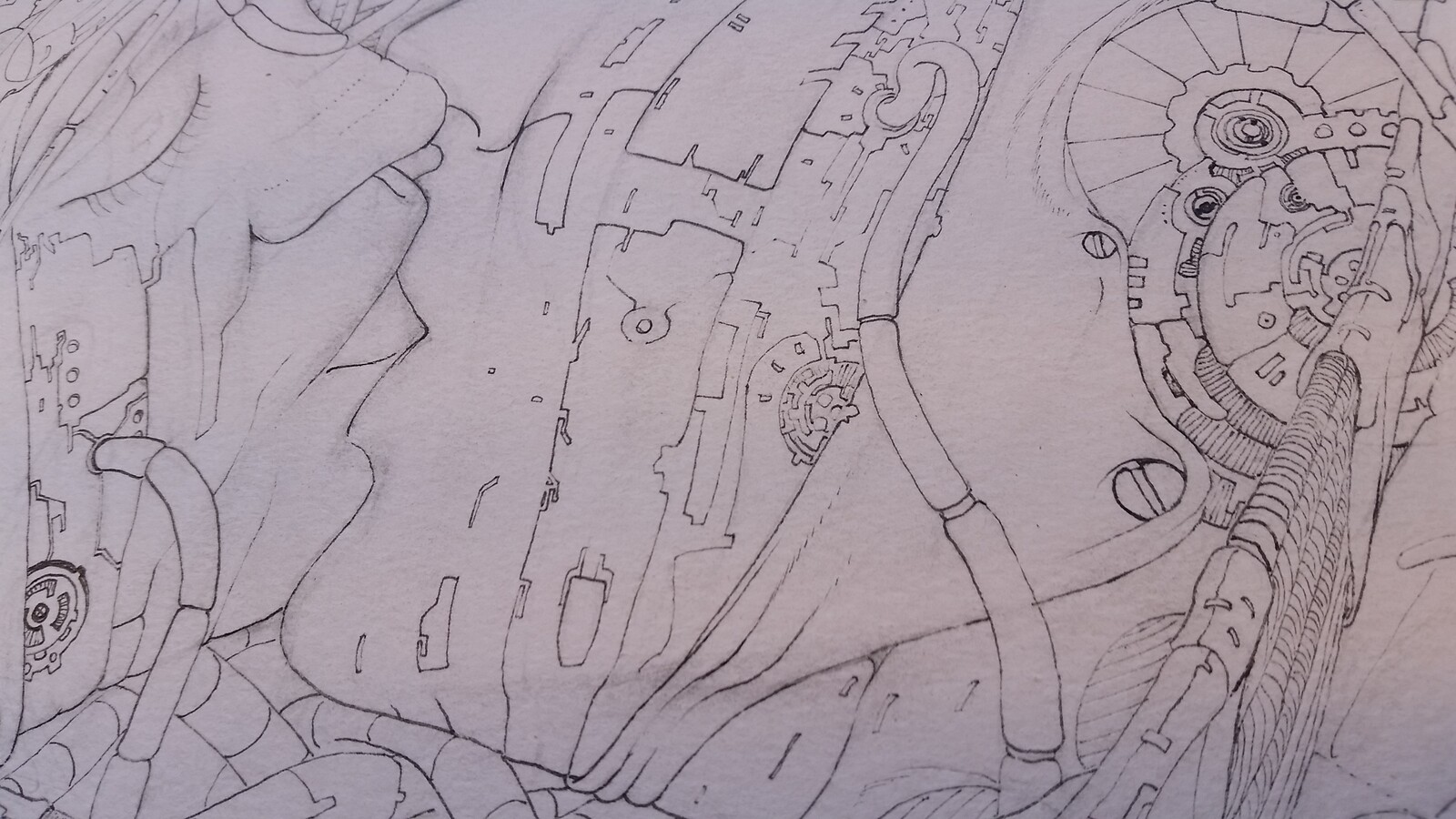 Work in progress: First ink layer, defining the outlines (Detail).
