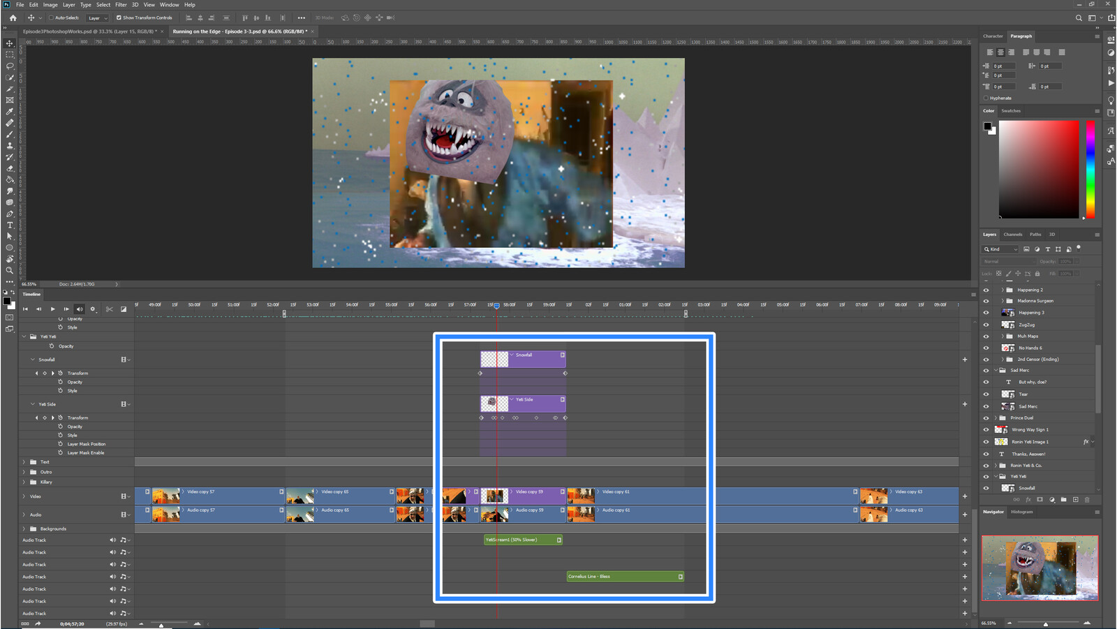 """The """"True Yeti"""" visual effect within Photoshop video editor"""