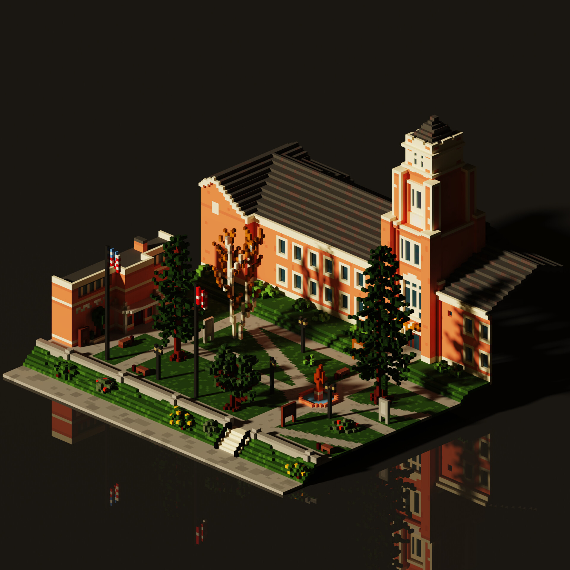 Late afternoon, Blackwell Academy MagicaVoxel render - May 2020