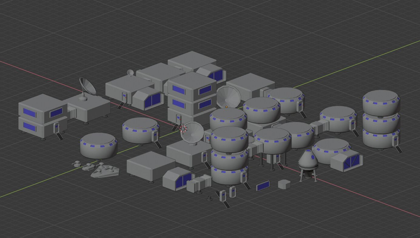 Buildings pack with modular elements to make different ones + tanks and spacecraft