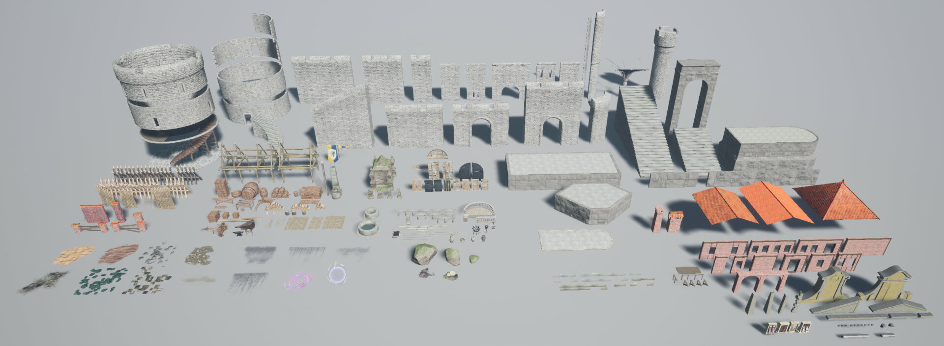 I made over 250 3D models to complete this environment map. Big Part of the modeling was 3 different modular sets: Castle, Fortifications and City buildings.
