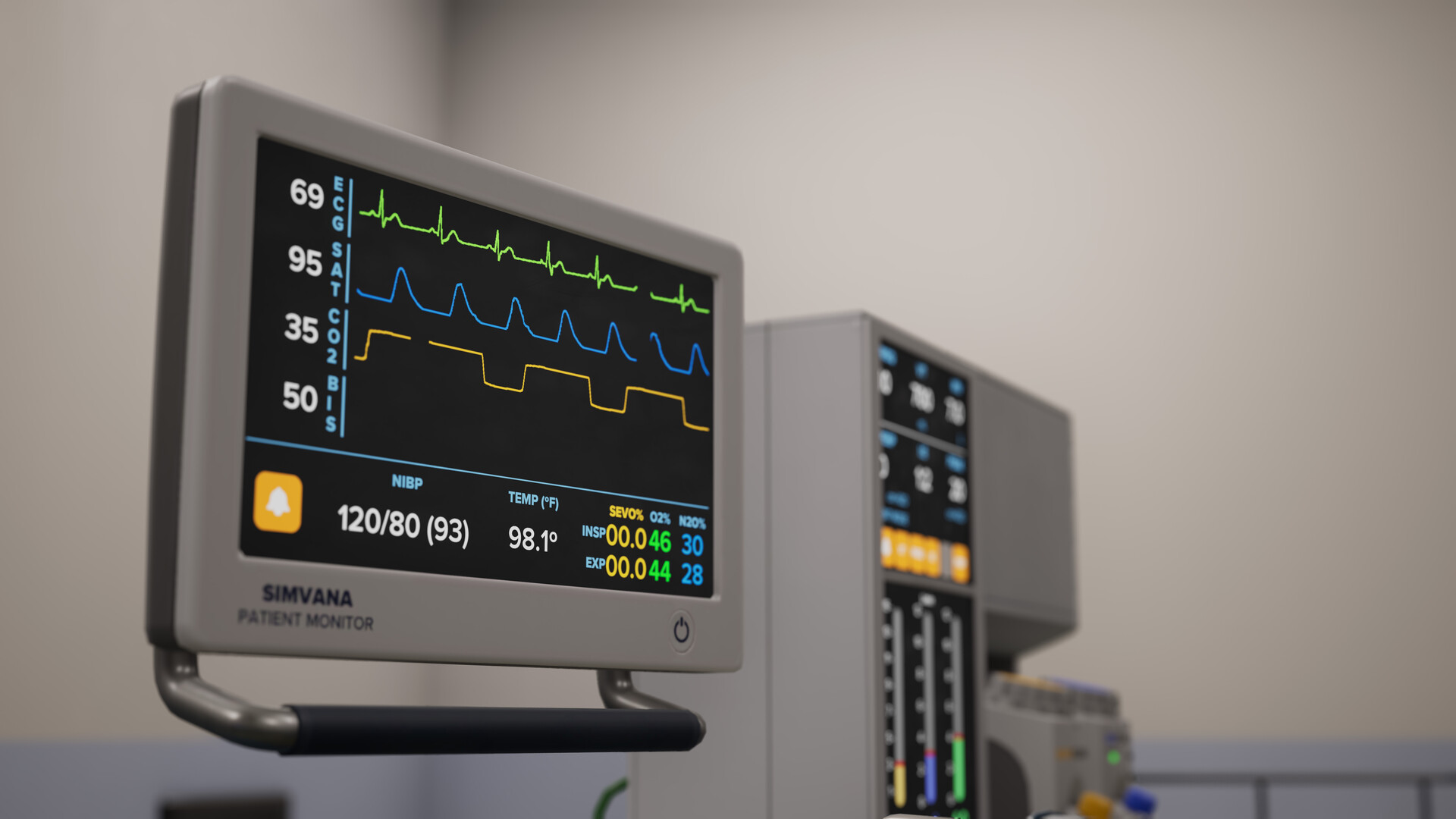 I was responsible for prototyping the custom functionality to draw the patient monitor graphs in real time during the simulation.