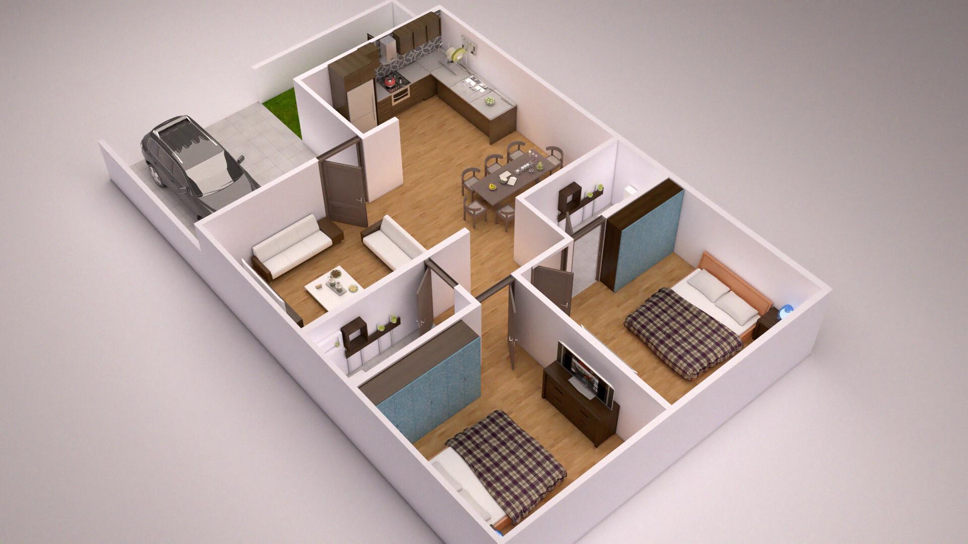 Artstation 3d Floor Plan 2bhk Rohit Kushwaha