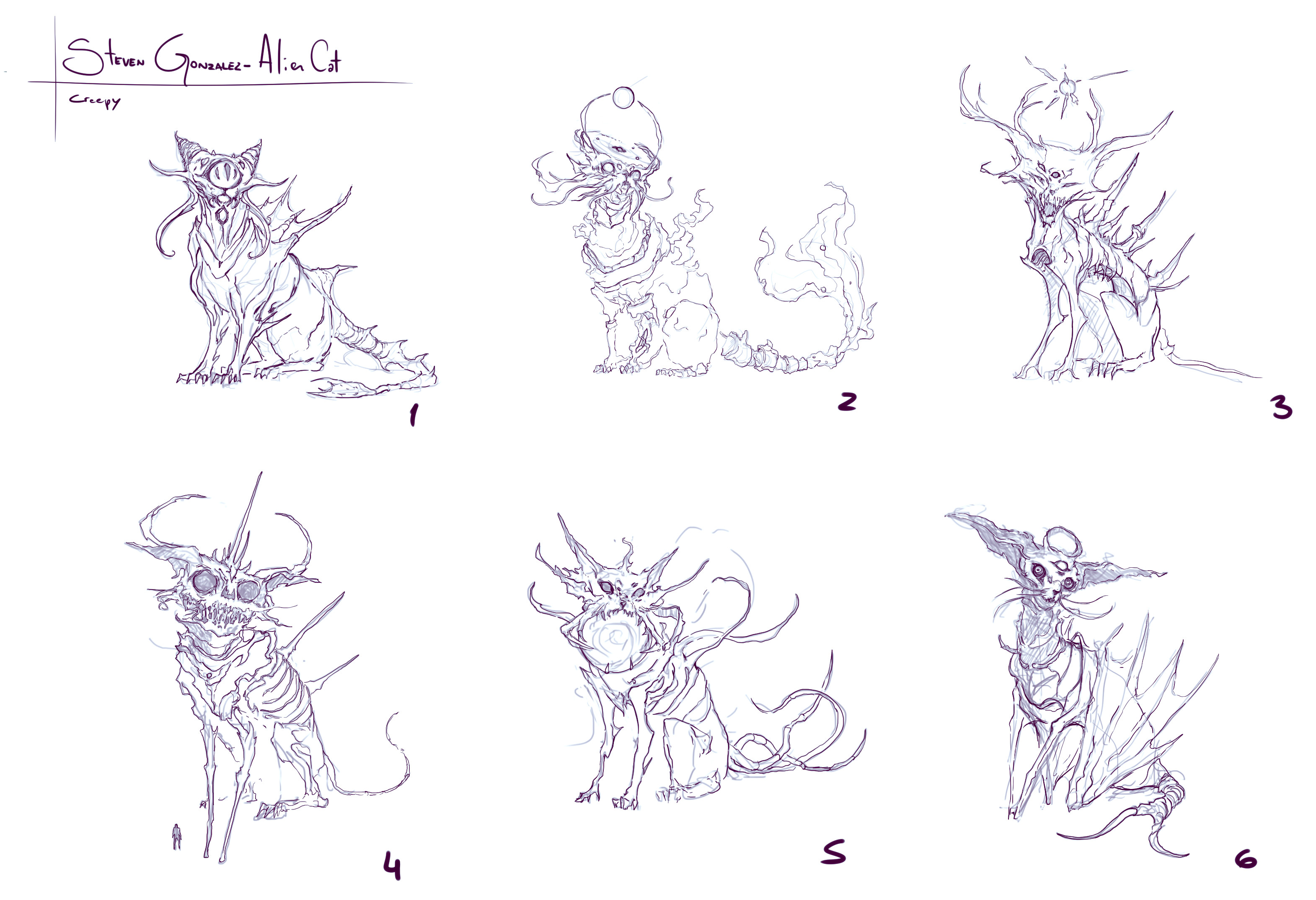 These are the initial sketches, I trully loved number 2 but number 1 was chosen with 2's elements in it, which I actually appreciate because 2 had a solar system in its head and I had no clue on how to paint it.