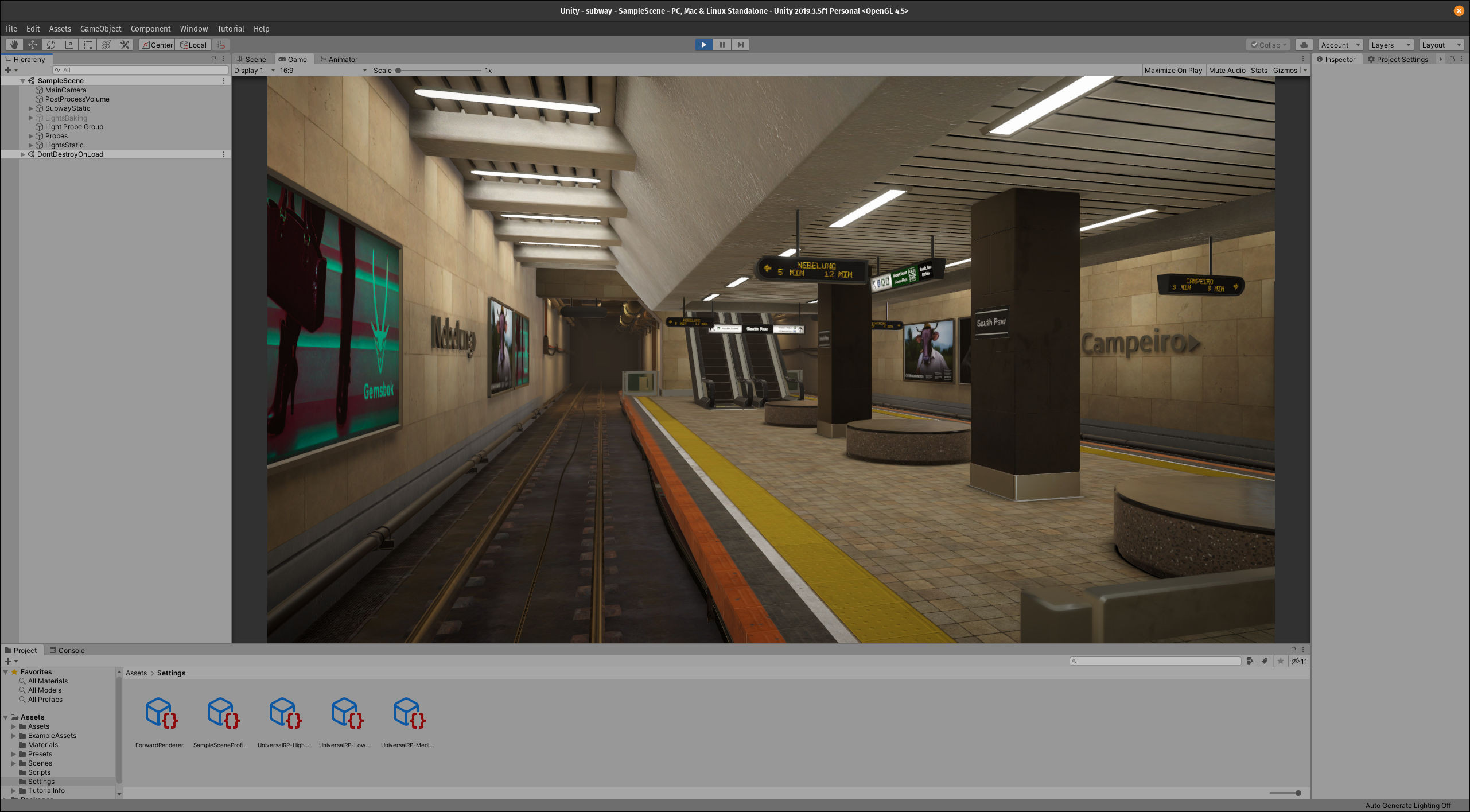 Same assets put in Unity, using the Universal Render Pipeline example project