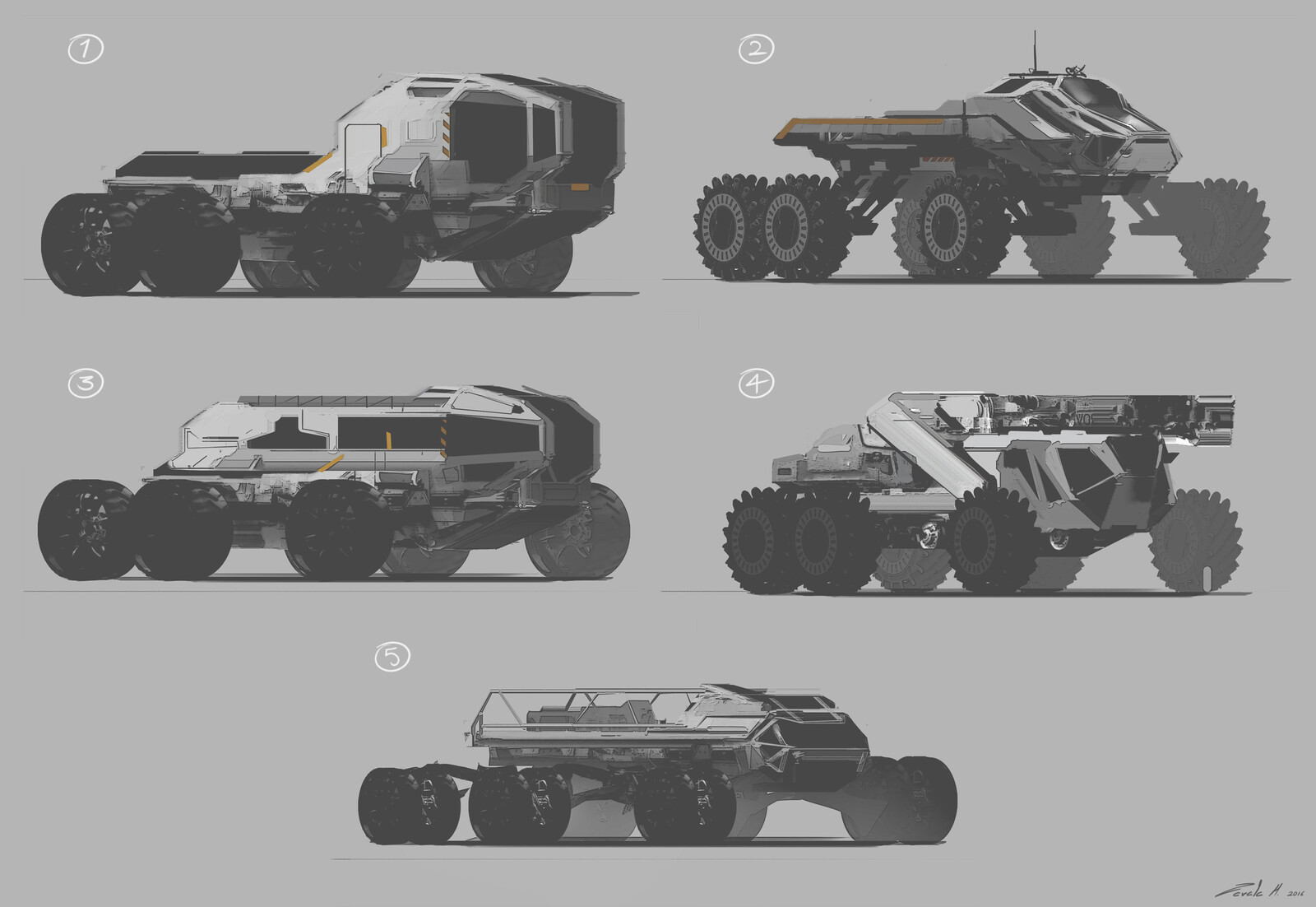 A clear example of what the director didn't want. The rover was the first assignment the whole team did so doing these sketches instantly put everyone in the right direction of what not to do.