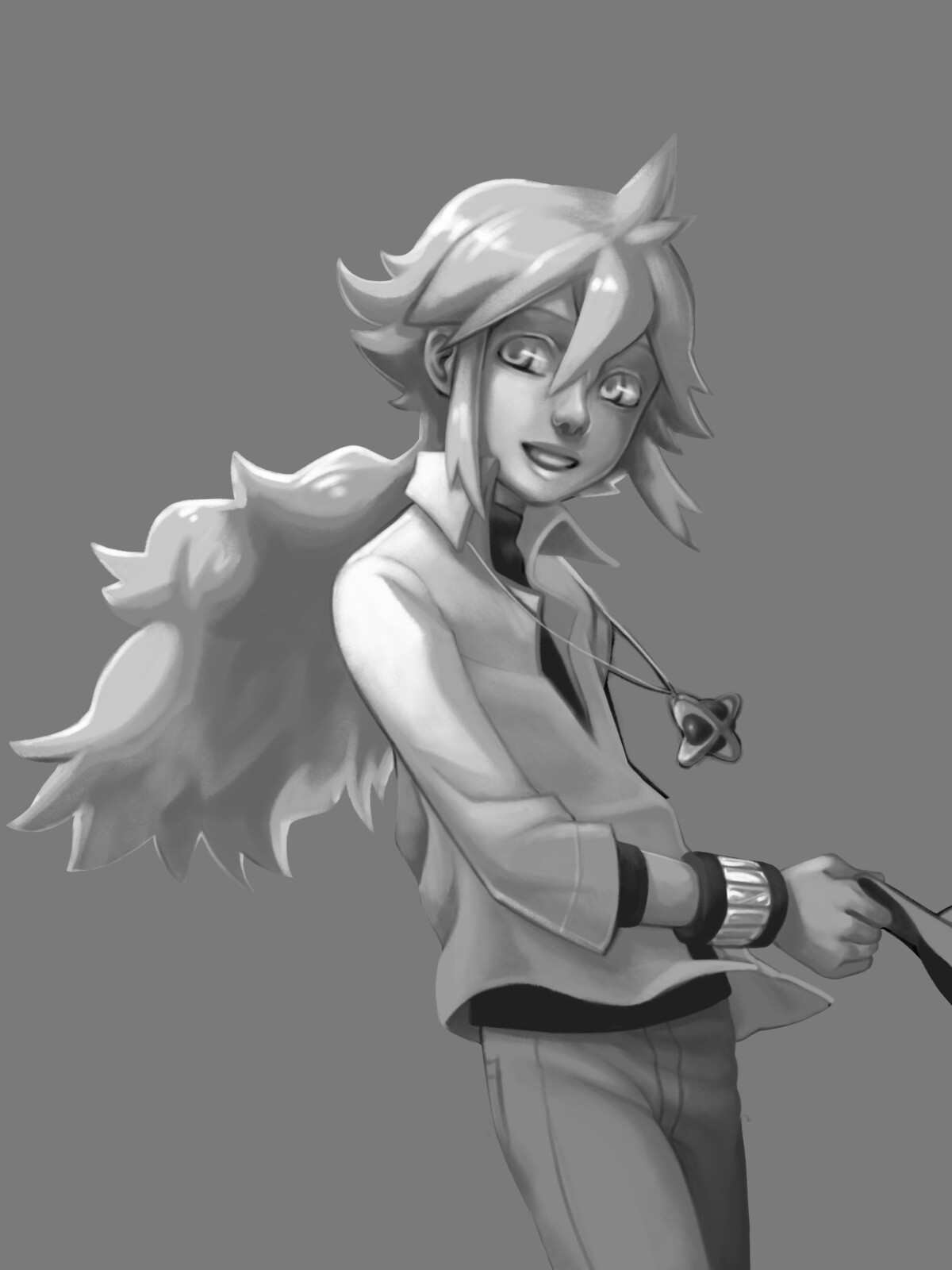 Initial grayscale painting of character