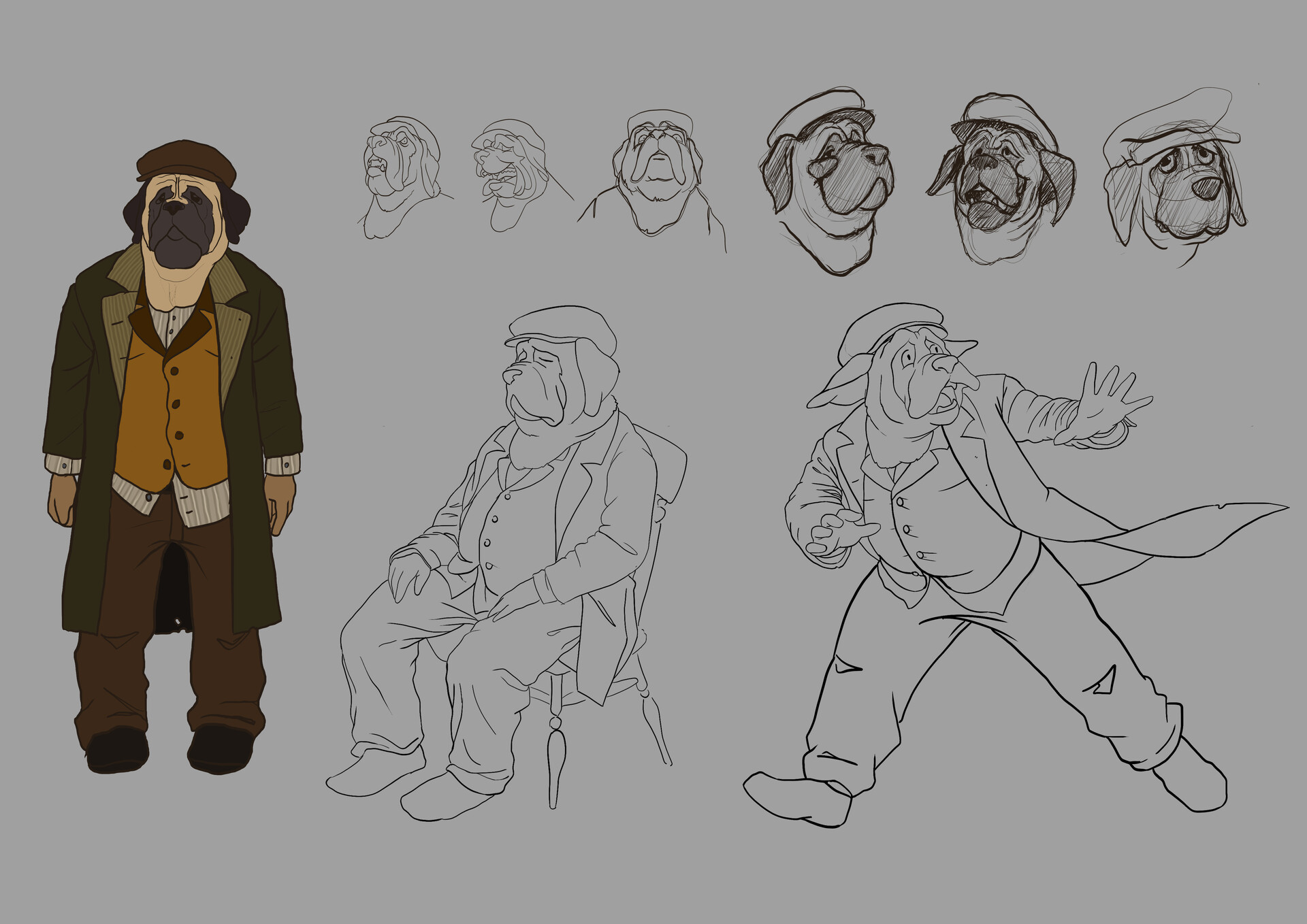 Final sketch, expressions and poses. I liked the sitting pose a lot because he looks so cute and sad, but it's not very dynamic so I picked the running one for th final render.