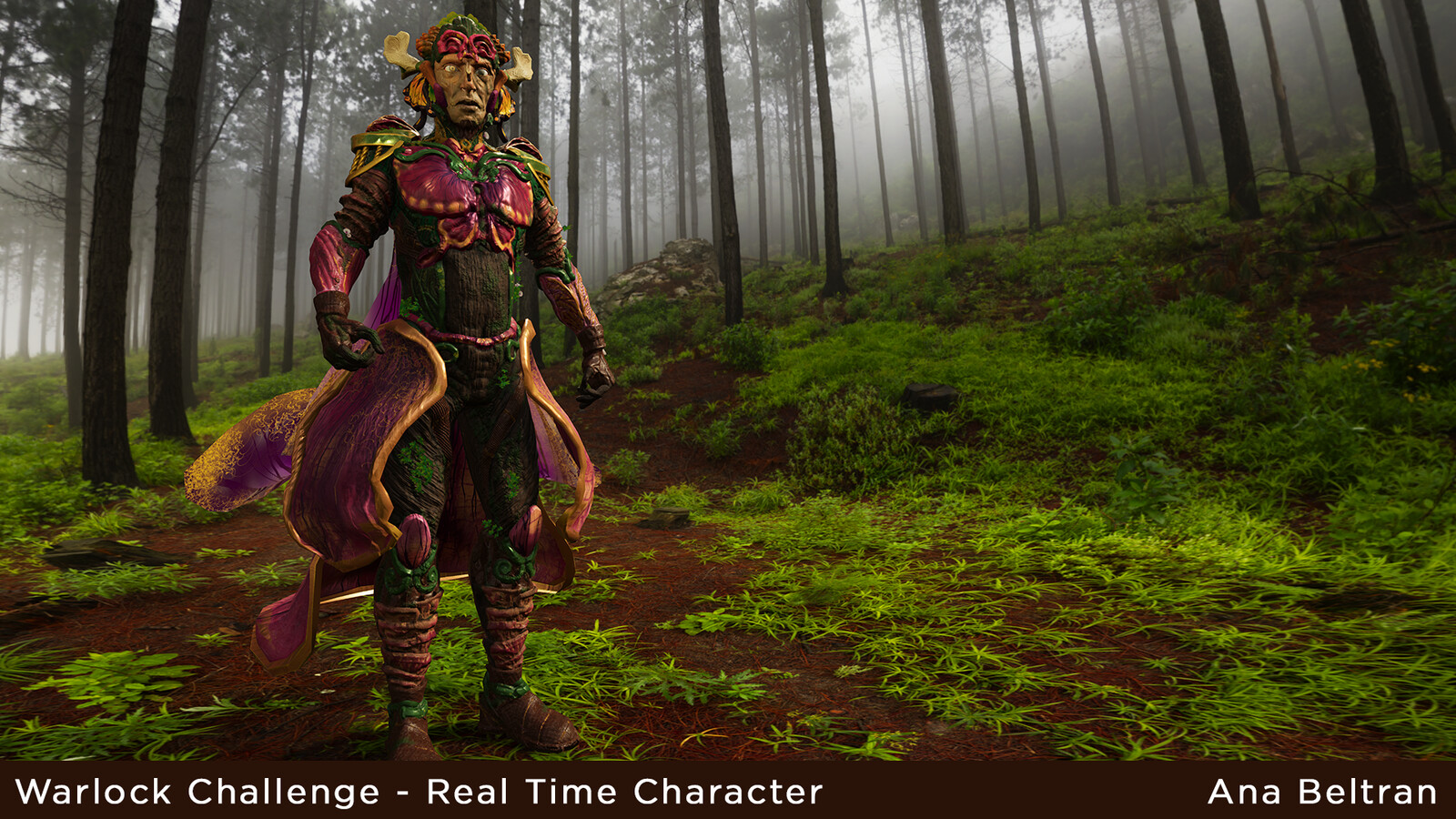 Character rendered in Unreal Engine 4 with a forest HDR background