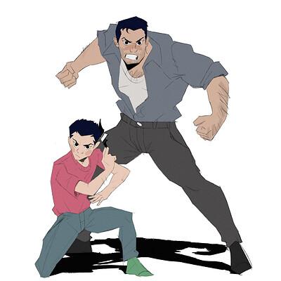 Bruce and Damian wayne (casual wear)