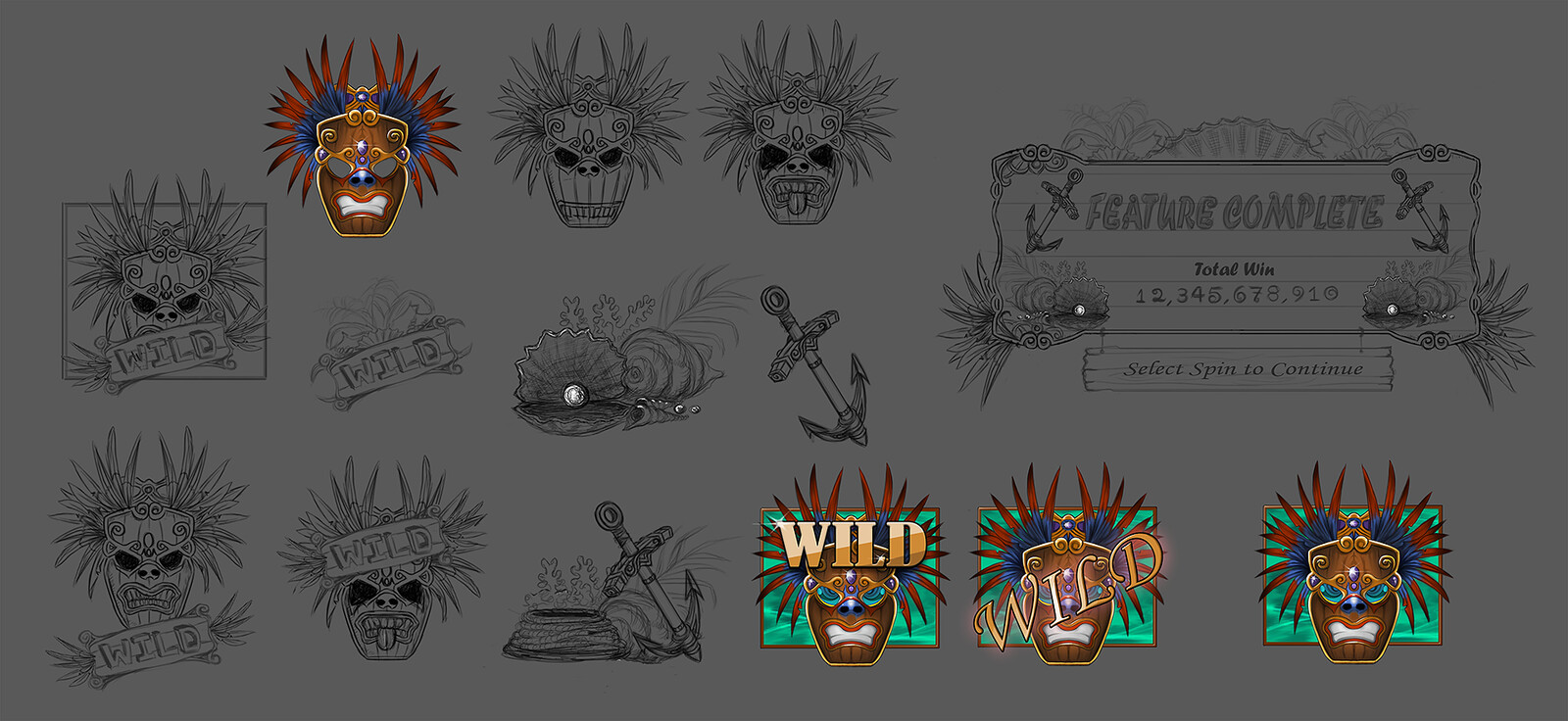 Started out with sketching a few Tropical theme objects, then picked out the mask! After that a few variations of the mask itself and finally some color variations!