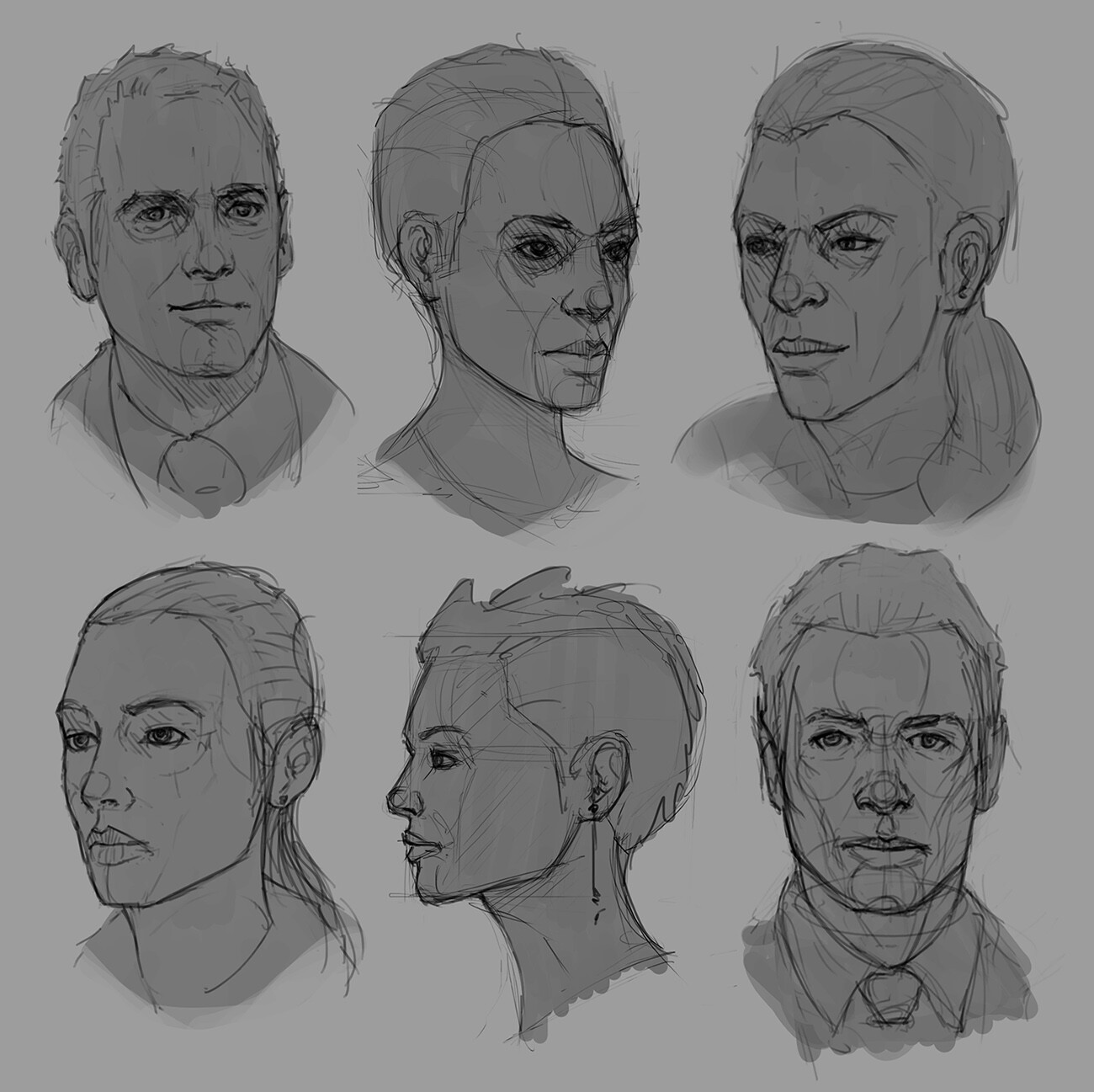 A few head sketches, trying to understand the 3D forms.
