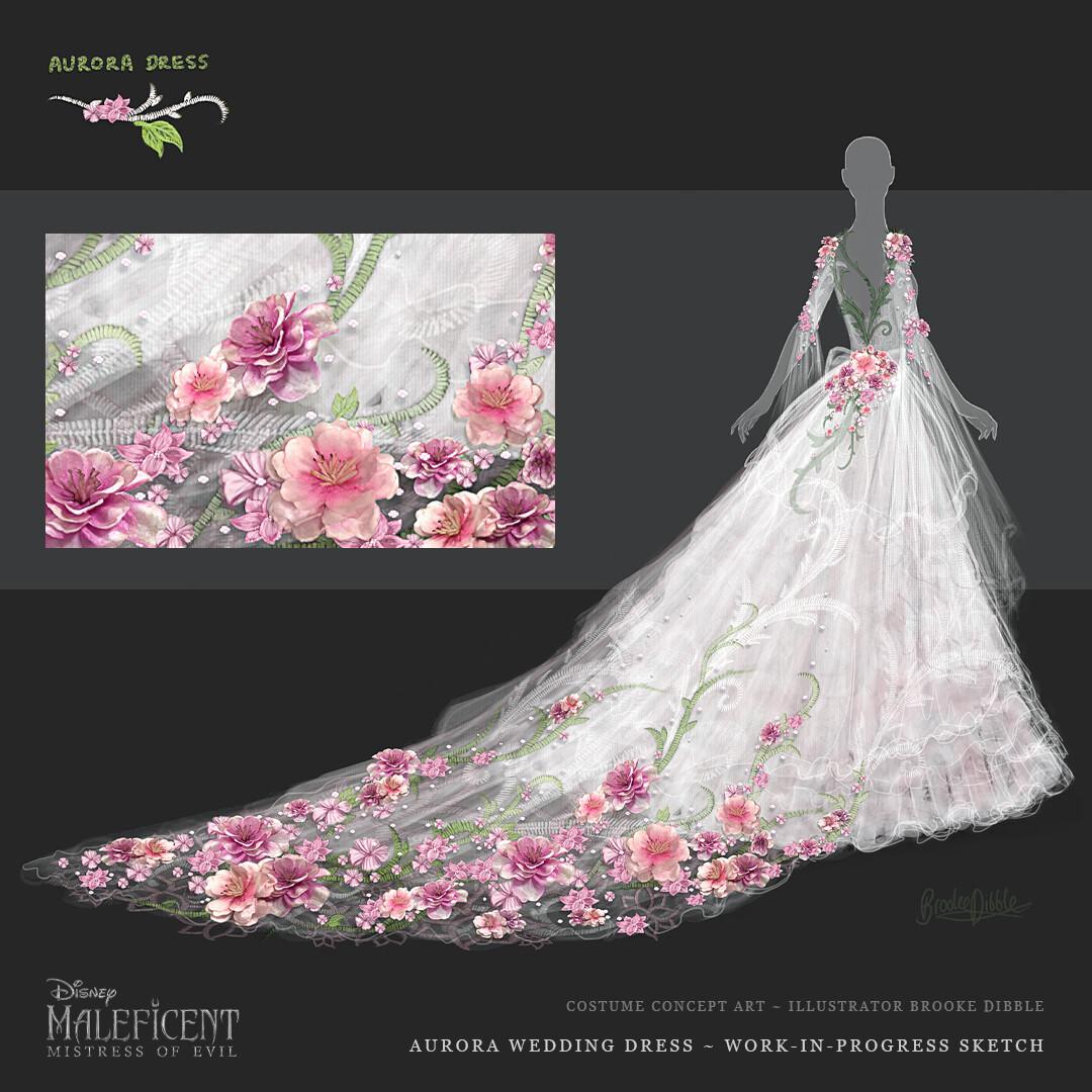Artstation Maleficent Mistress Of Evil Costume Concept Art Aurora Wedding Dress Brooke Dibble,Boat Neck Sheath Wedding Dress