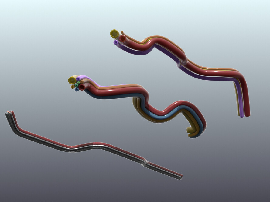 Procedurally-generated piping; the piping path and the individual pipe profiles and the grouping are each generated procedurally, so they cal all be managed and altered in real-time independently
