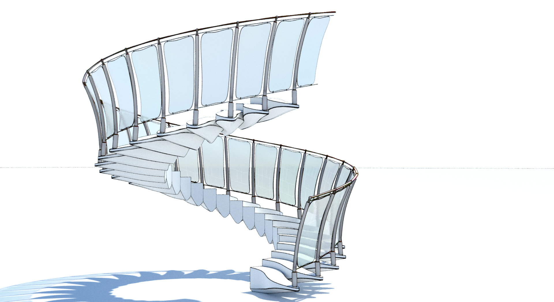 Procedural spiral stairs - each element type is contained in a separate source mesh, which is then procedurally replicated and transformed; some of the geometry is also procedurally adjusted on-the-fly for best design  - entire stair view cel edge shader