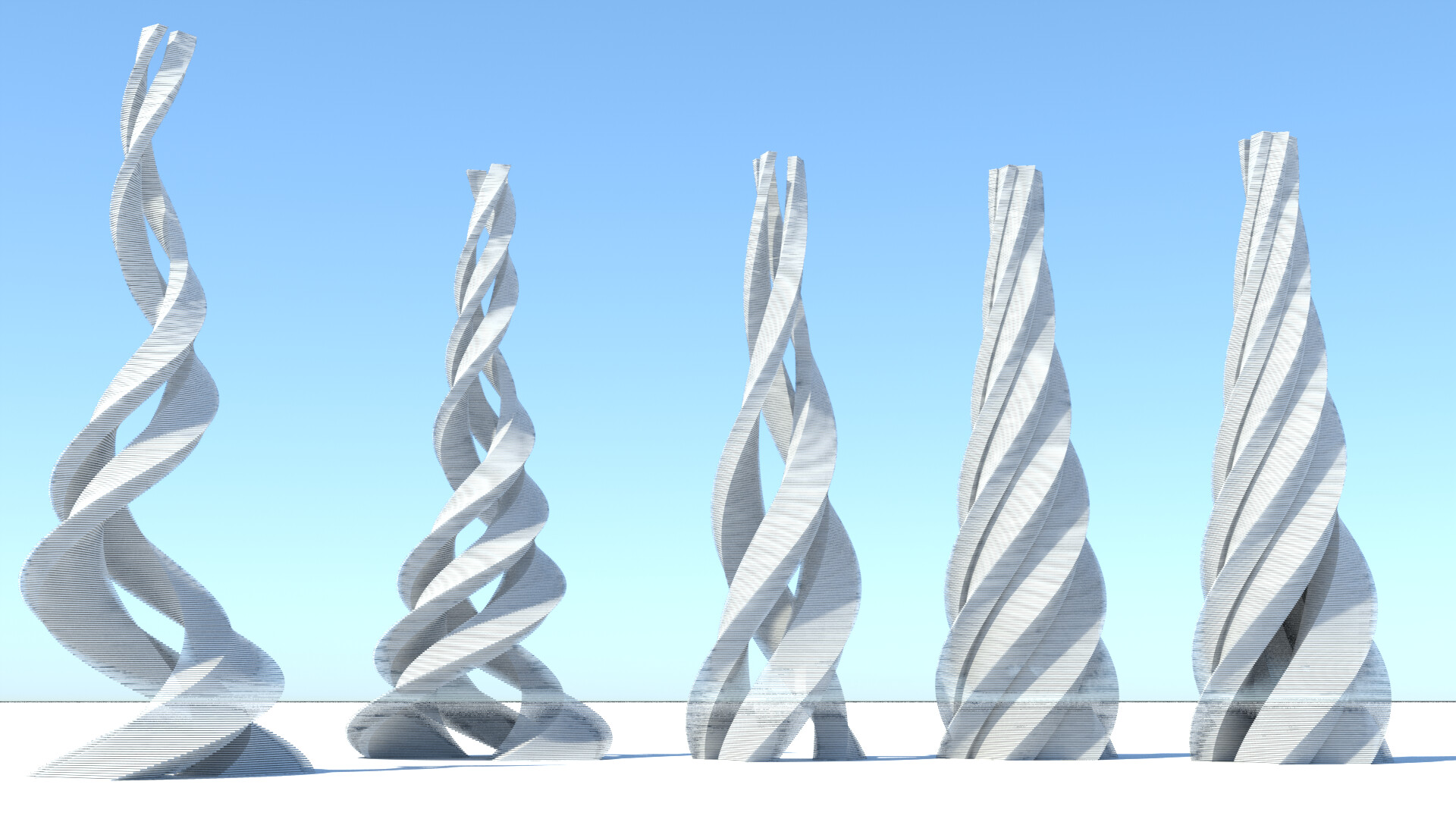 Procedurally-generated spiral towers - elevation view