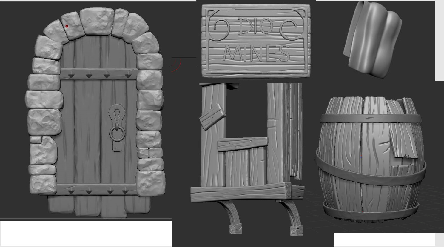 Some of the assets details in Zbrush