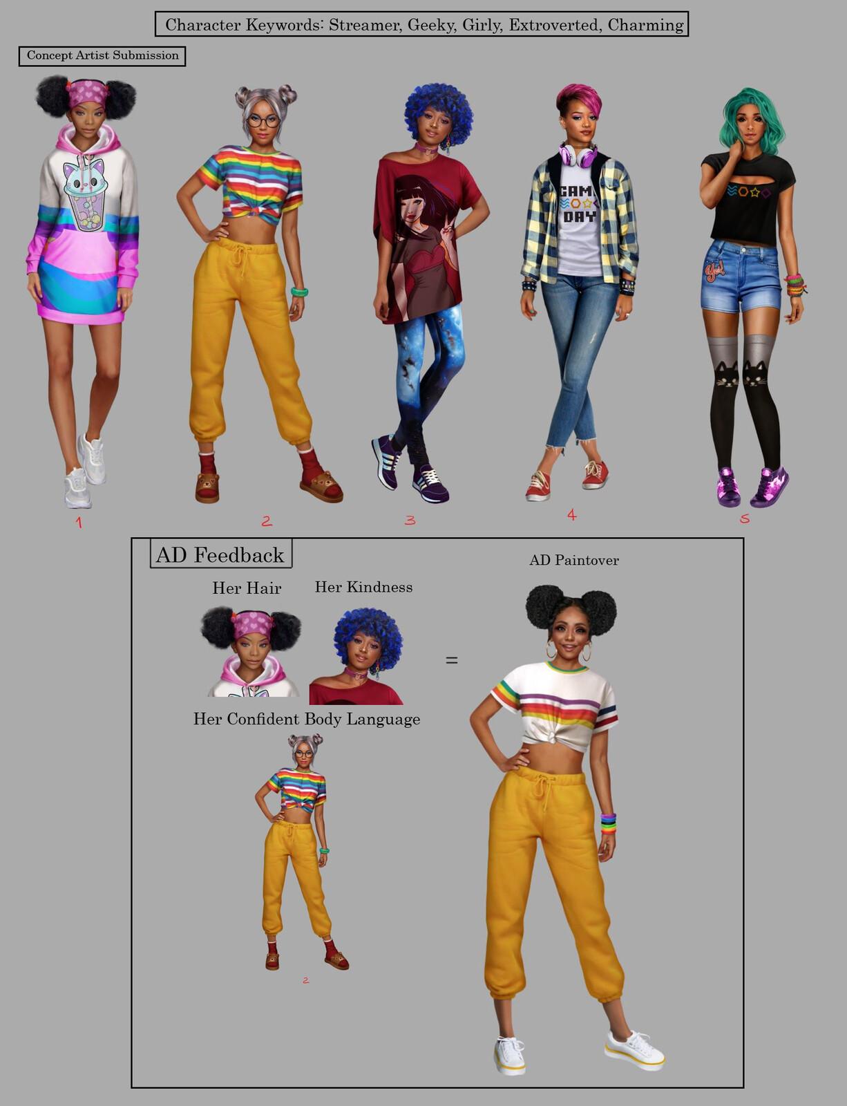 Character exploration feedback