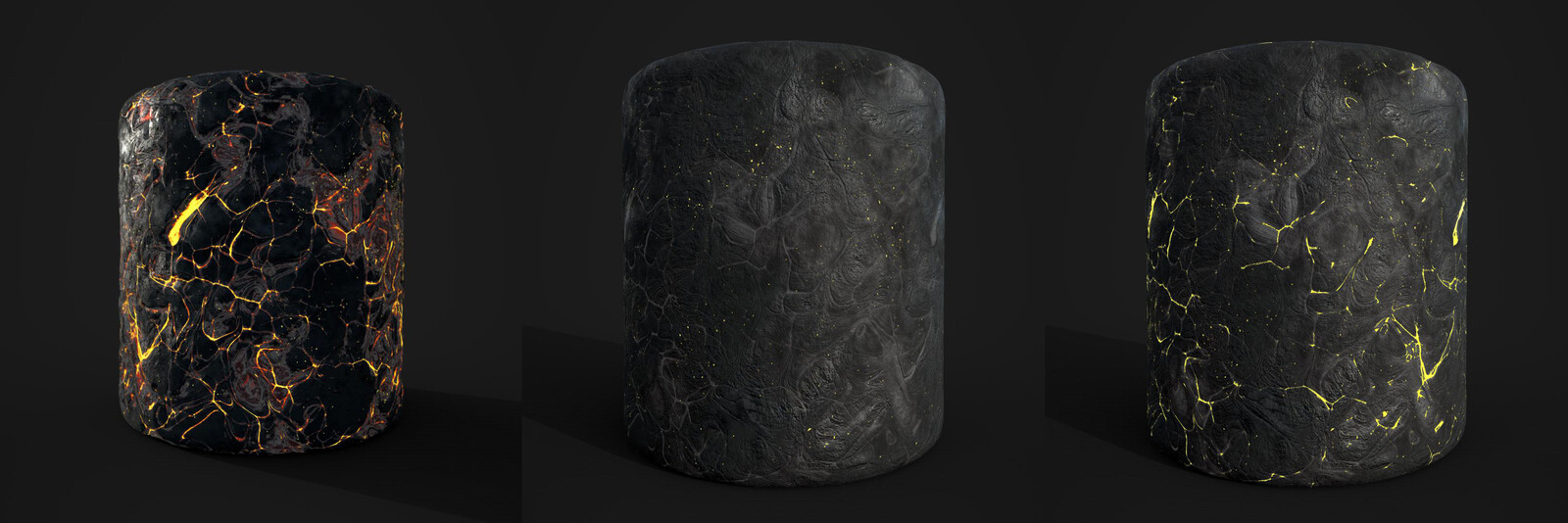 Texture variations of the lava ground made inside Substance Designer for the volcano sequence.