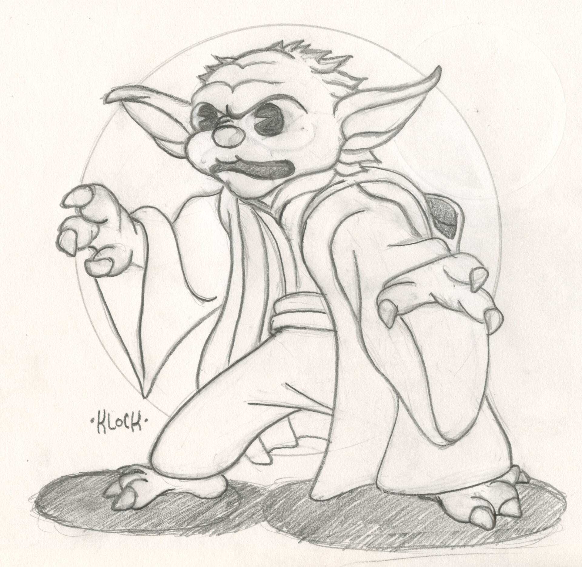 Retro Yoda Sketch