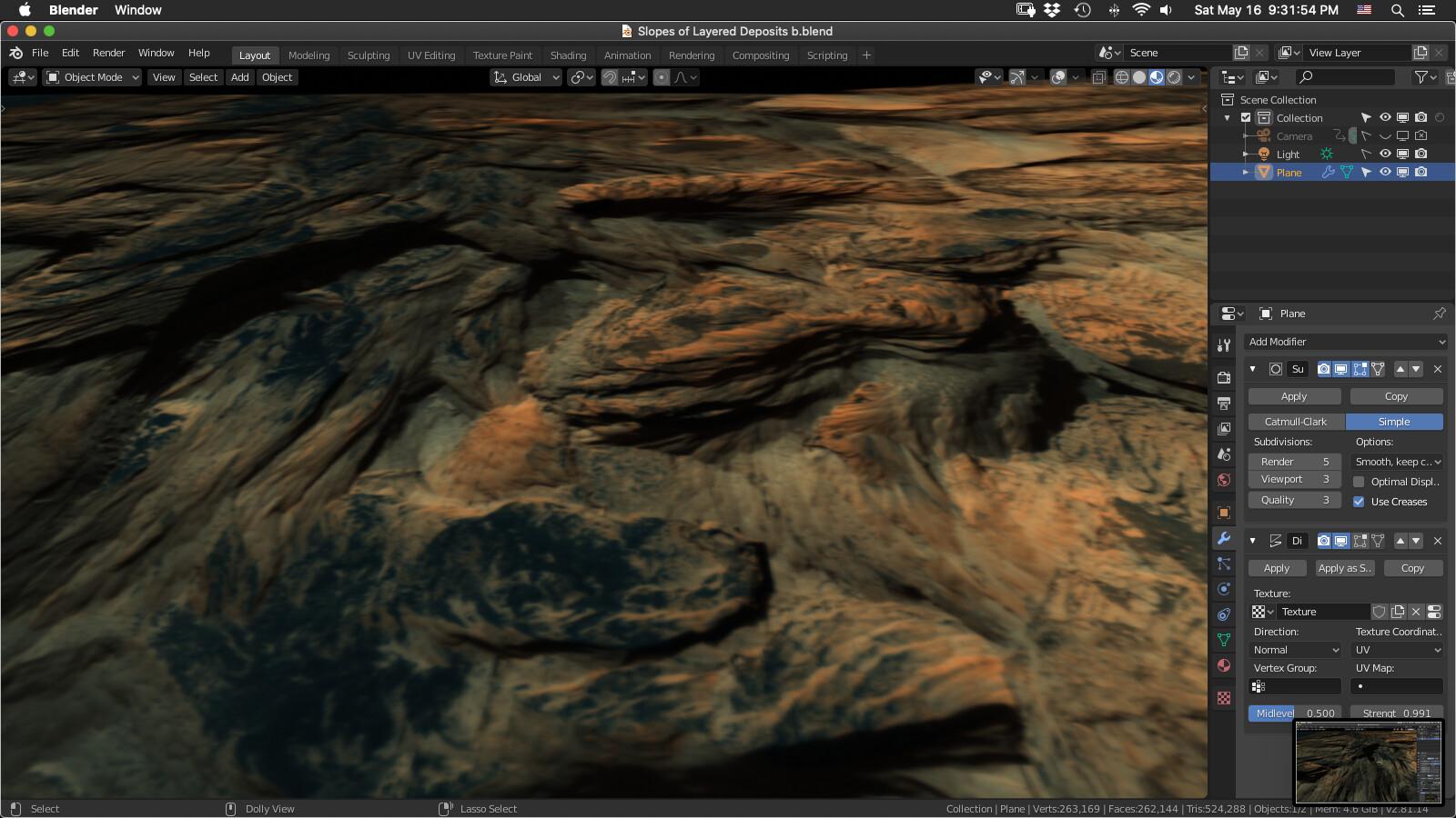 Screengrab of Blender viewport using UofArizona DTMs